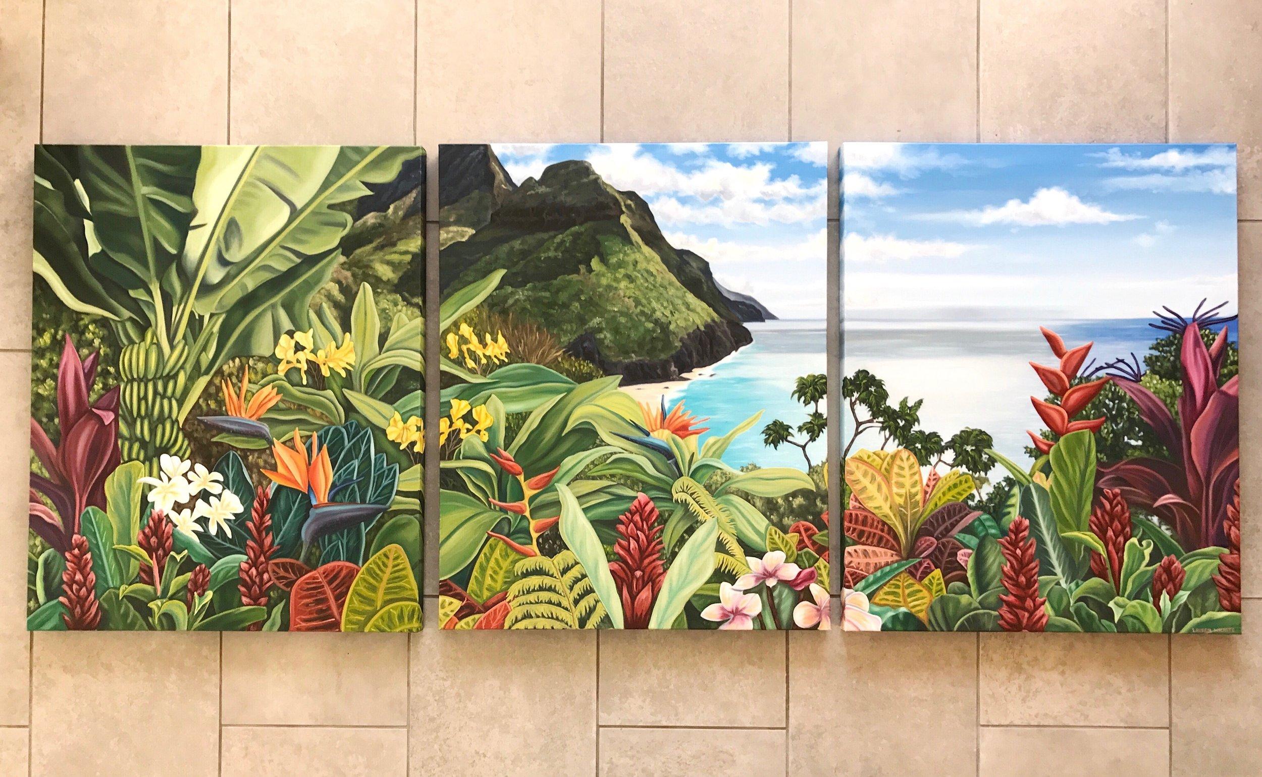 """Hawaiian Triptych, 72""""x30"""", Oil Paint on Canvas, 2017"""