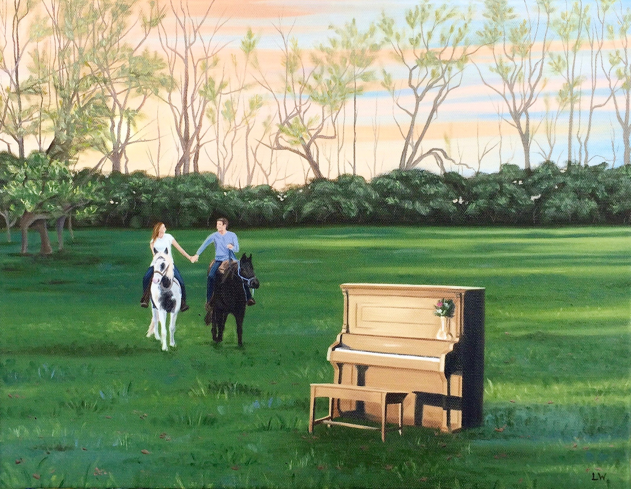 """Kirsten and David's Engagement Day, 18""""x 14"""", Oil Paint on Canvas, 2016"""