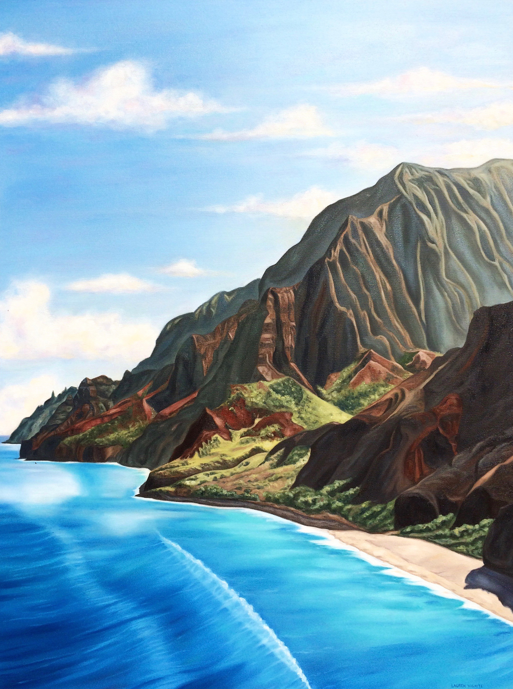 "Na Pali Coastline, 30""x40"", Oil Paint on Canvas, 2016"