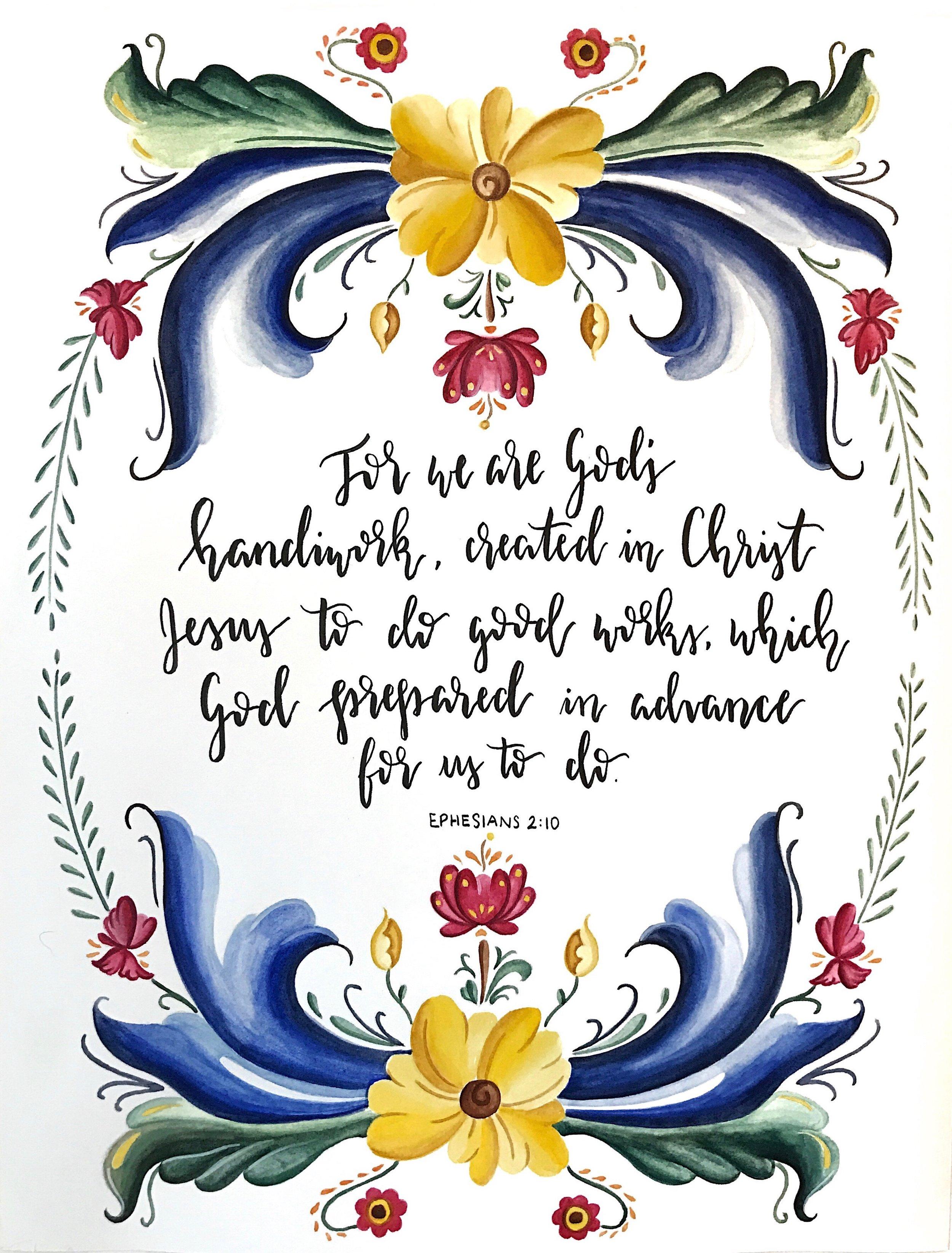 "Ephesians 2:10 (Norwegian Rosemaling), 11""x14"", Watercolor and Pen, 2017"