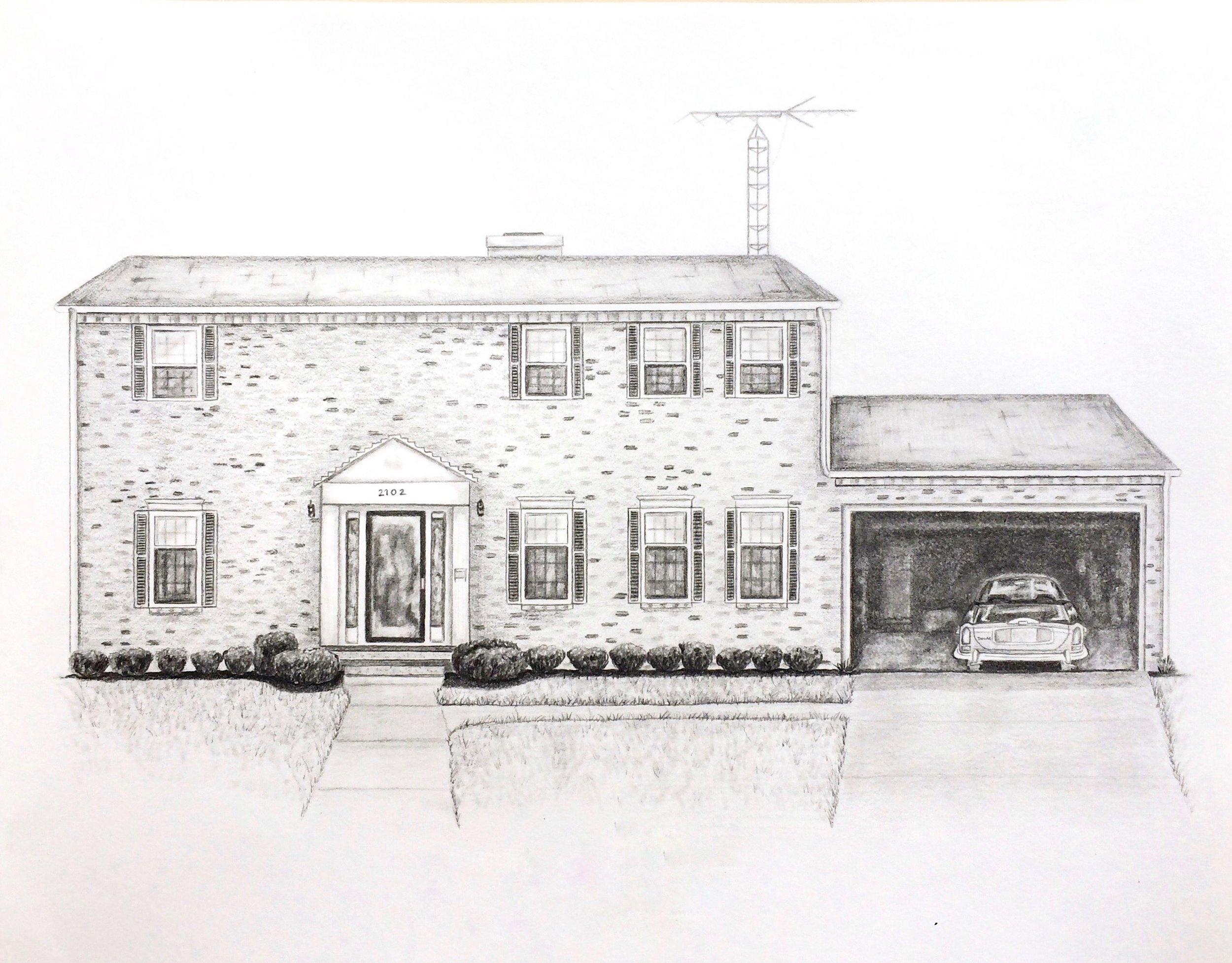 """Tim's Childhood Home, 14""""x11"""", Pencil on Paper, 2016"""