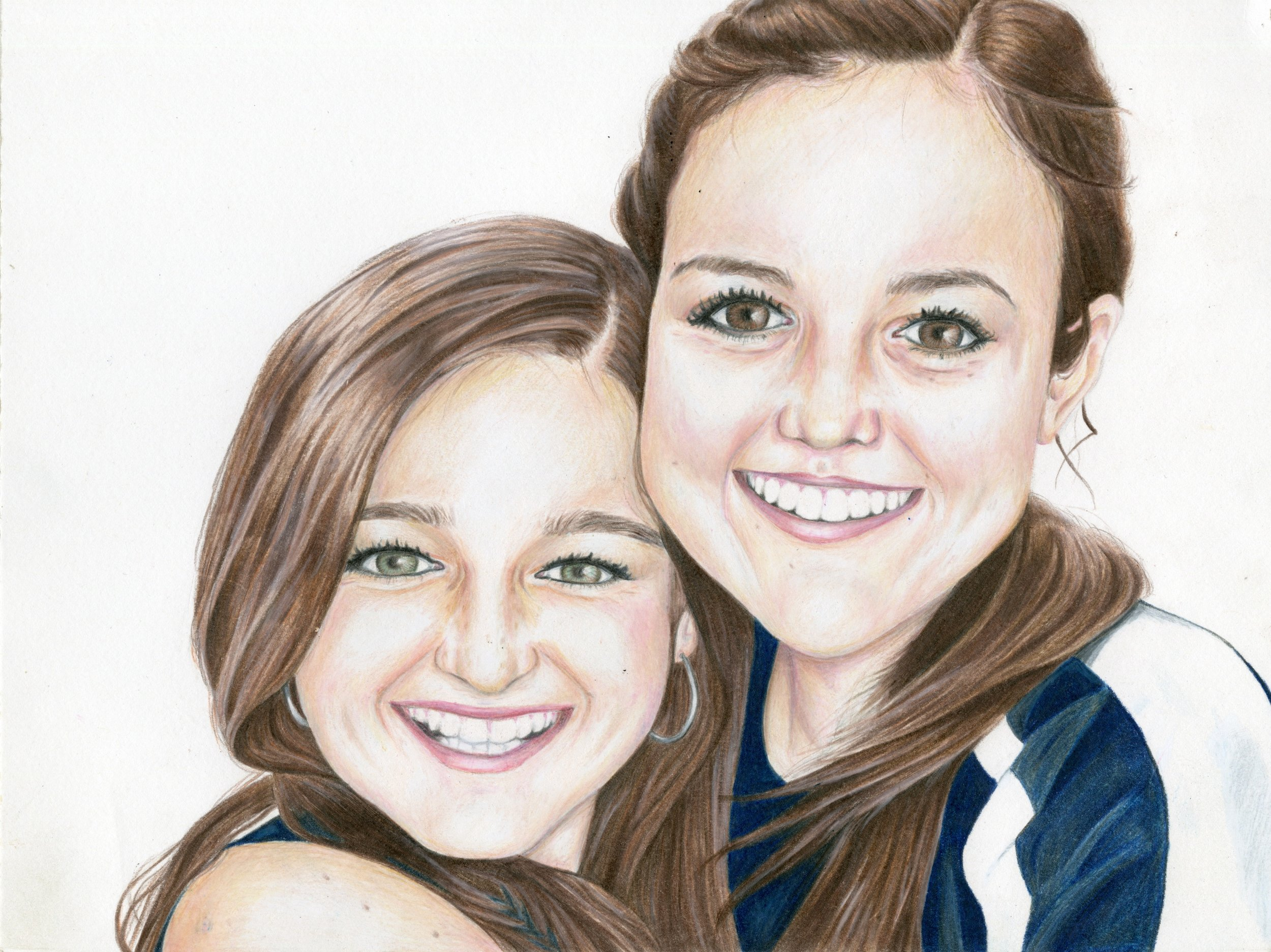 """Allie and I, 12""""x9"""", Colored Pencil, 2013"""
