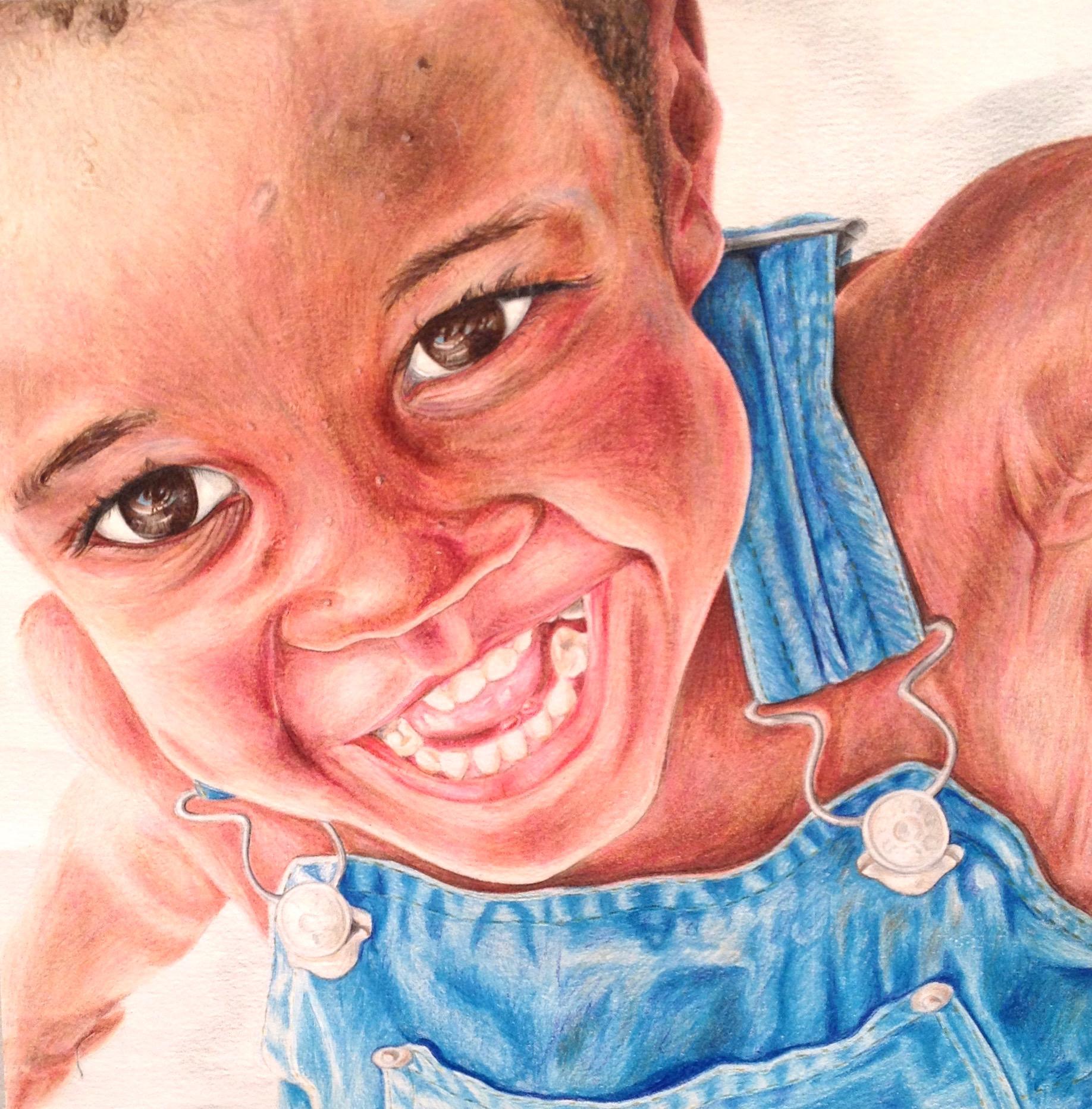 "Haitian Boy, 12""12"", Colored Pencil, 2013"
