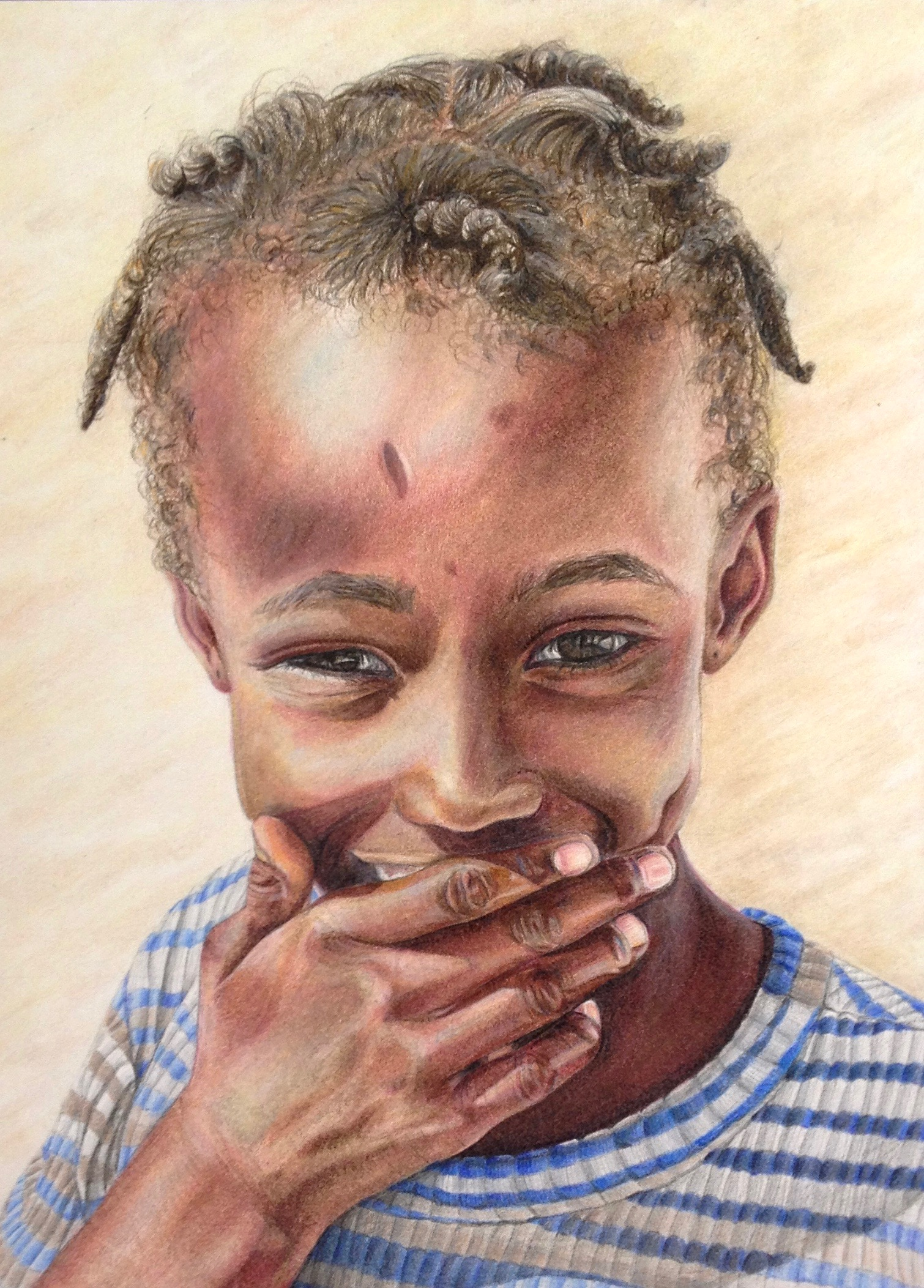 "Haitian Girl, 6""x8"", Colored Pencil, 2013"