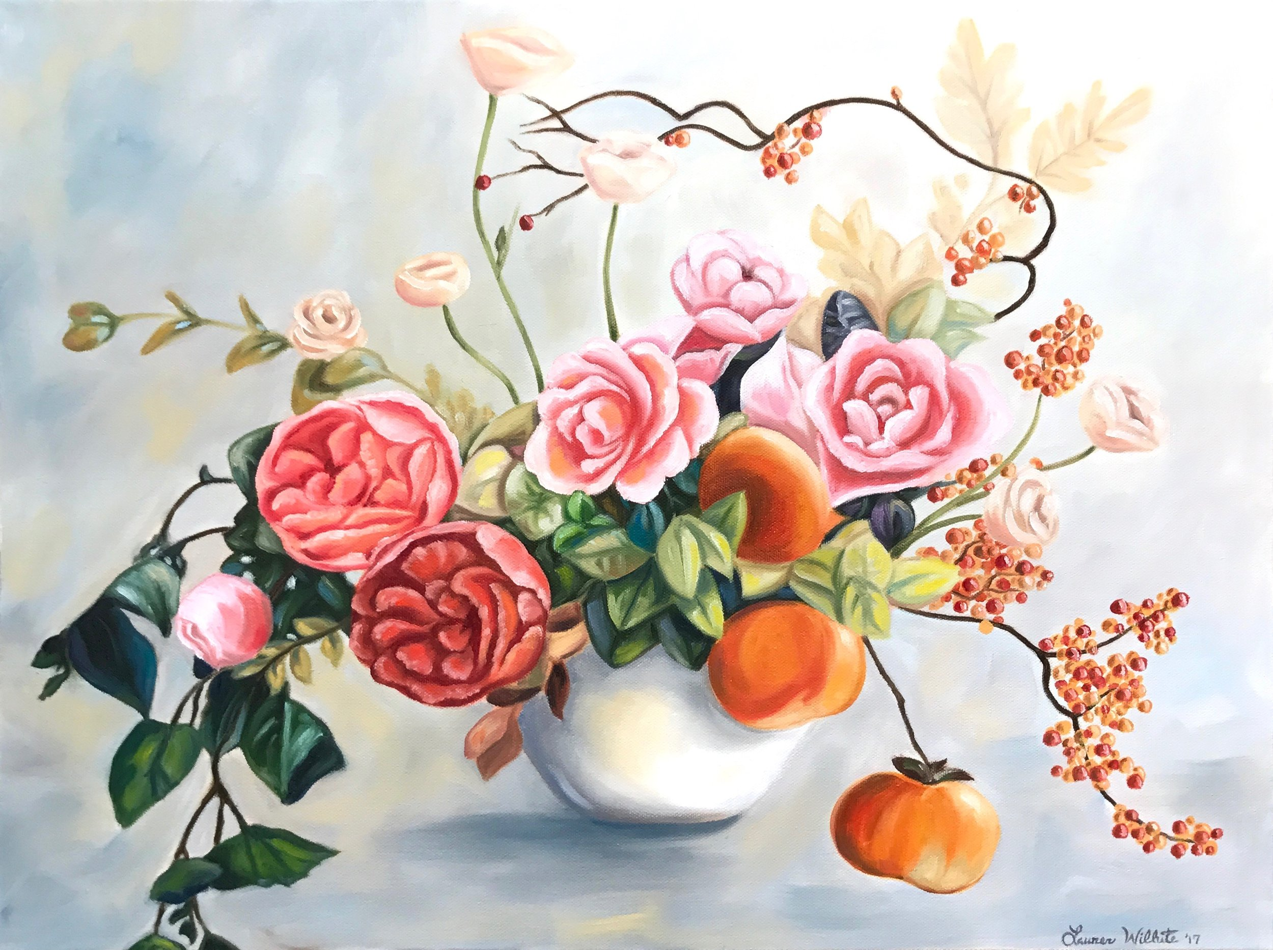 """Spring Floral, 24""""x18"""", Oil Paint on Canvas, 2017"""