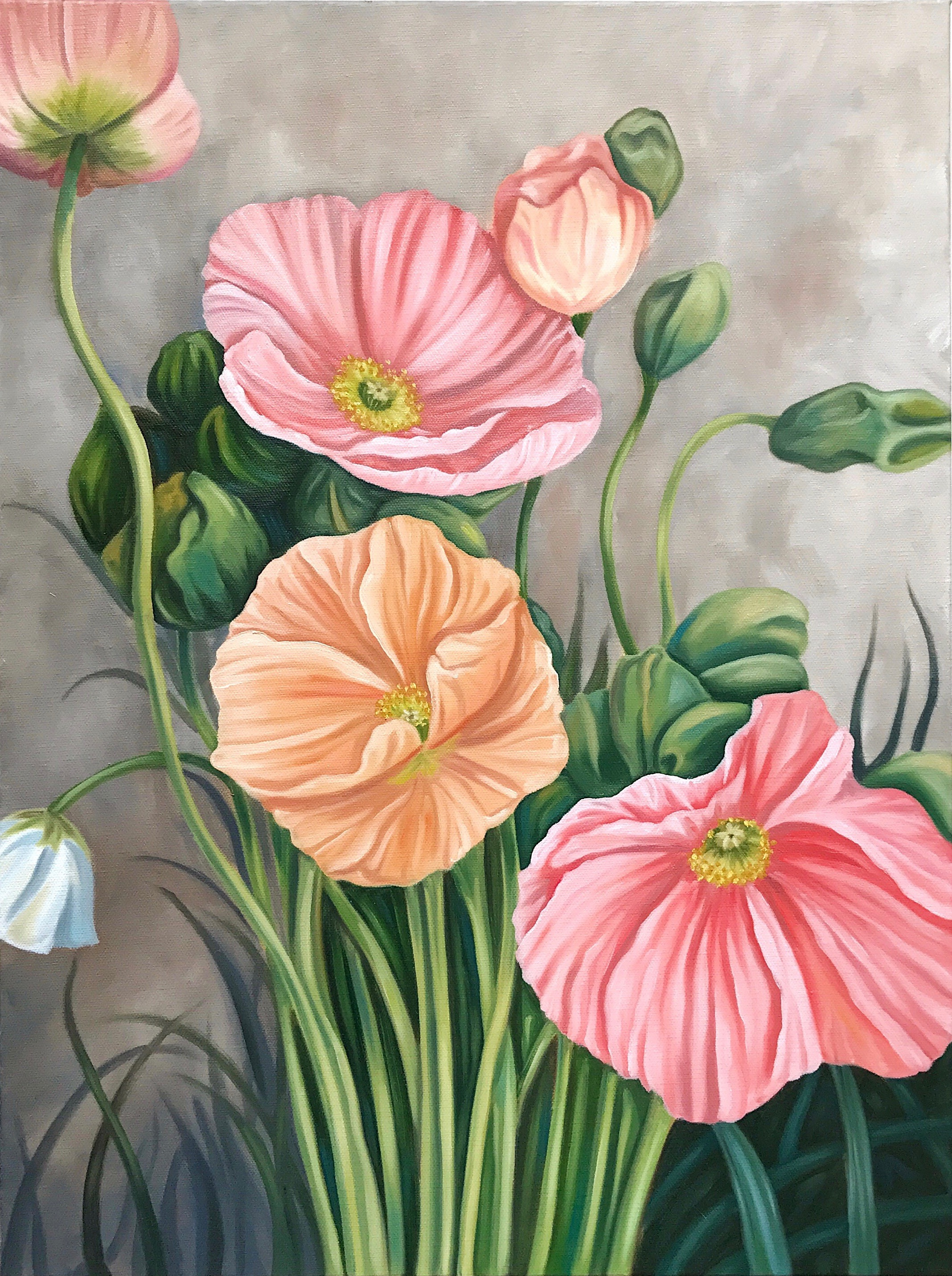 """Poppies, 18""""x24"""", Oil Paint on Canvas, 2017"""