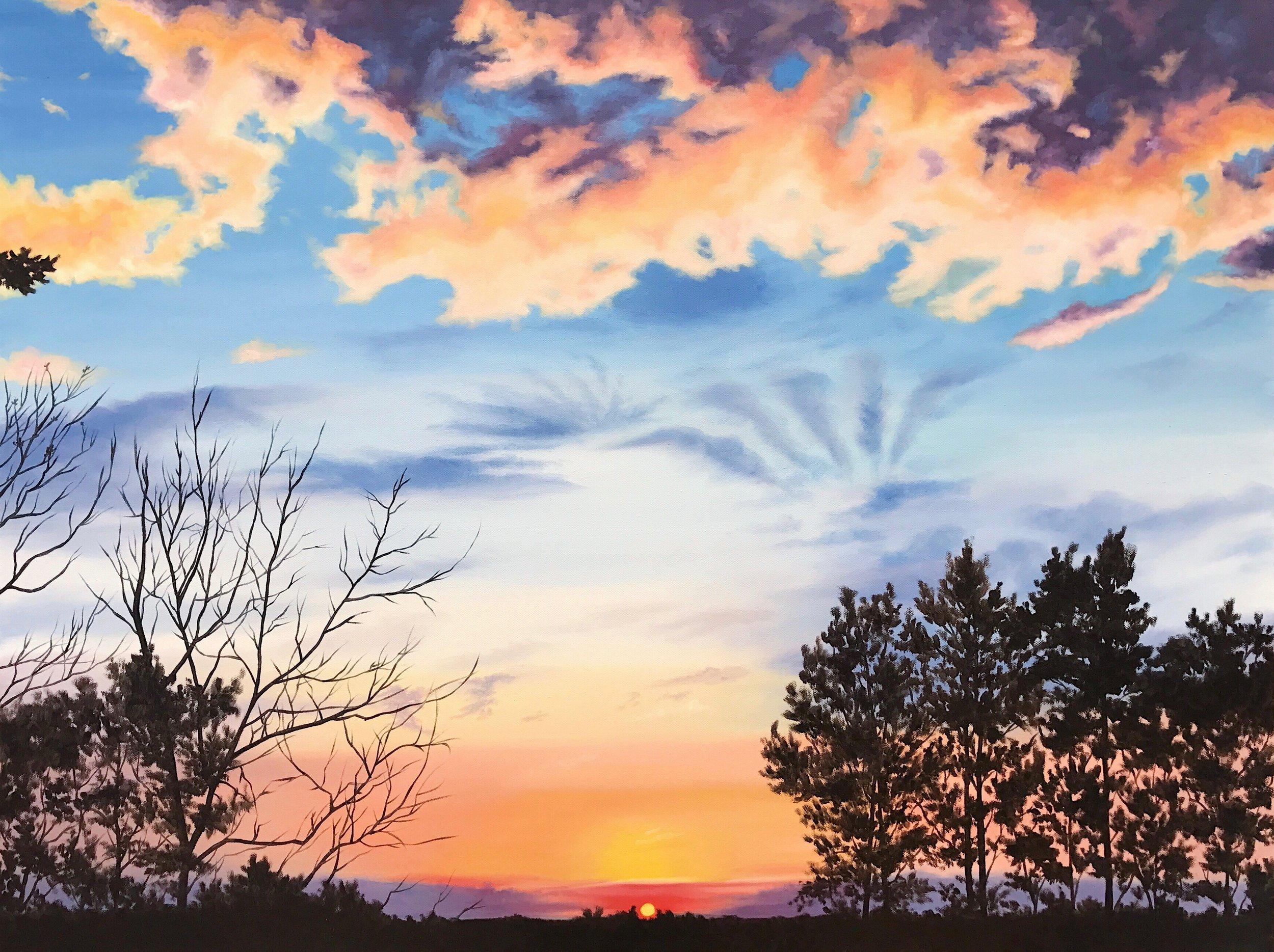 "Iroquois Park Sunset, 40""x30"", Oil Paint on Canvas, 2017"