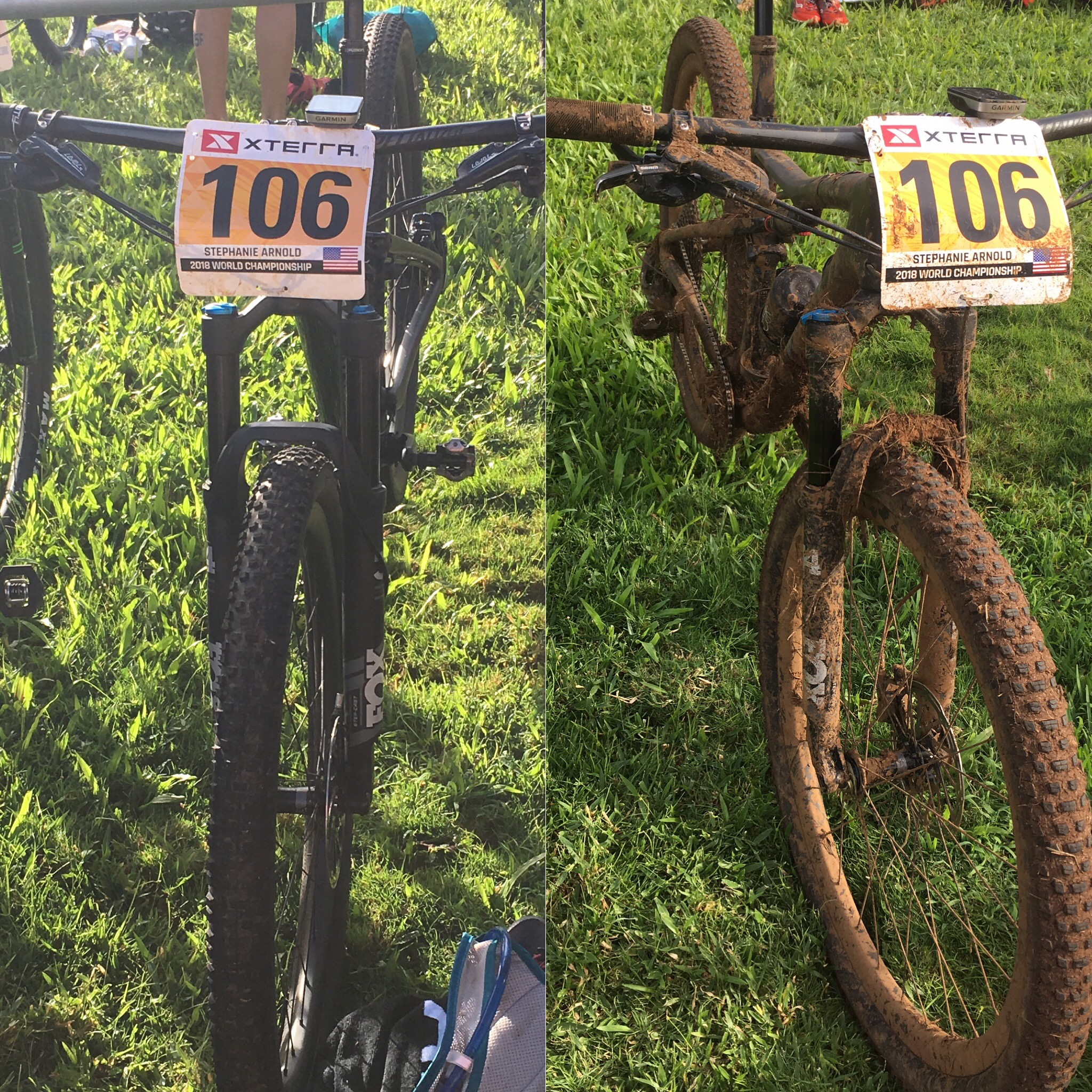 """A before-and-after of """"Flo,"""" my mountain bike."""