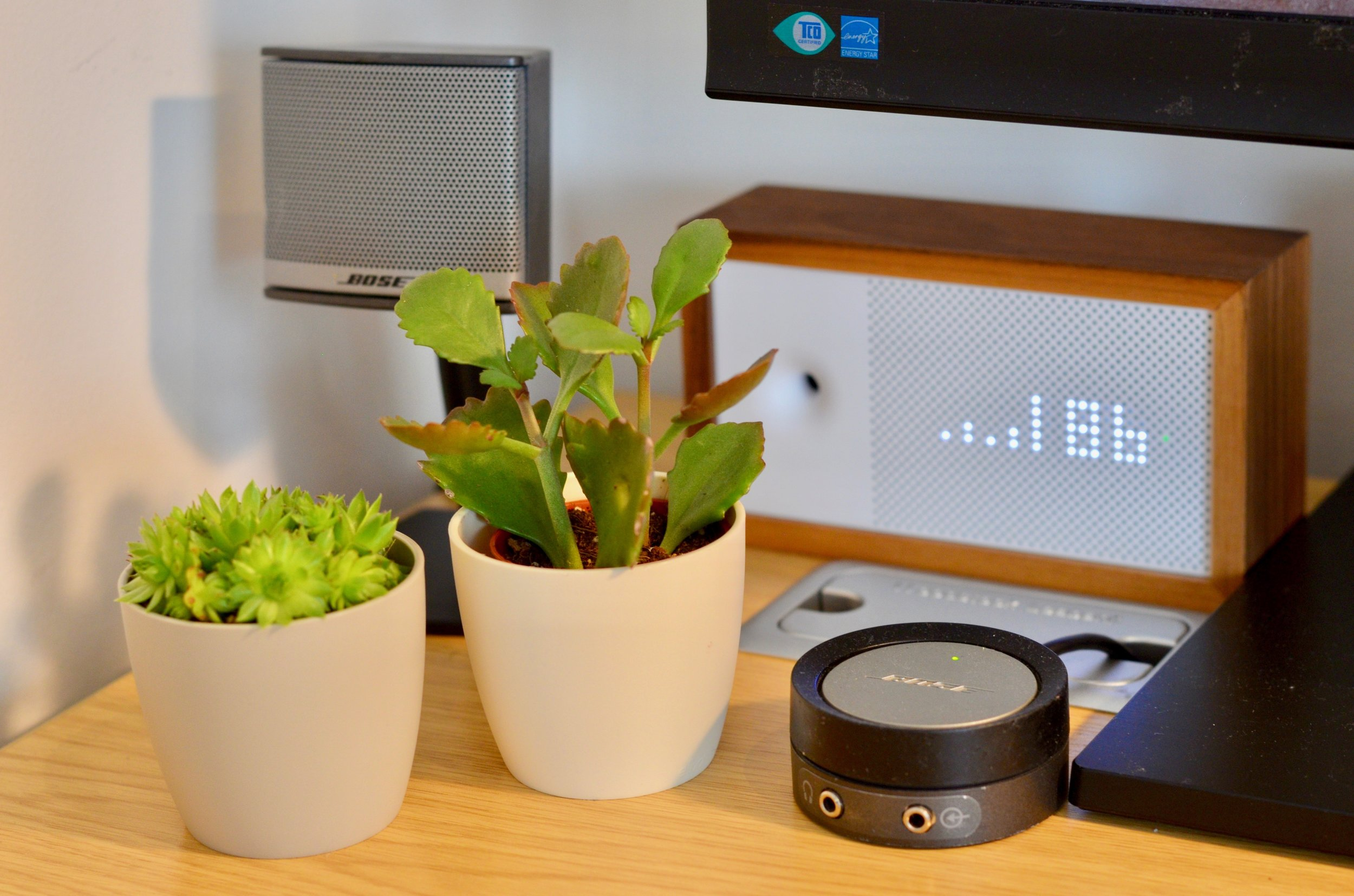 I love this bit - Bose speaker control, succulents and the Awair air quality monitor