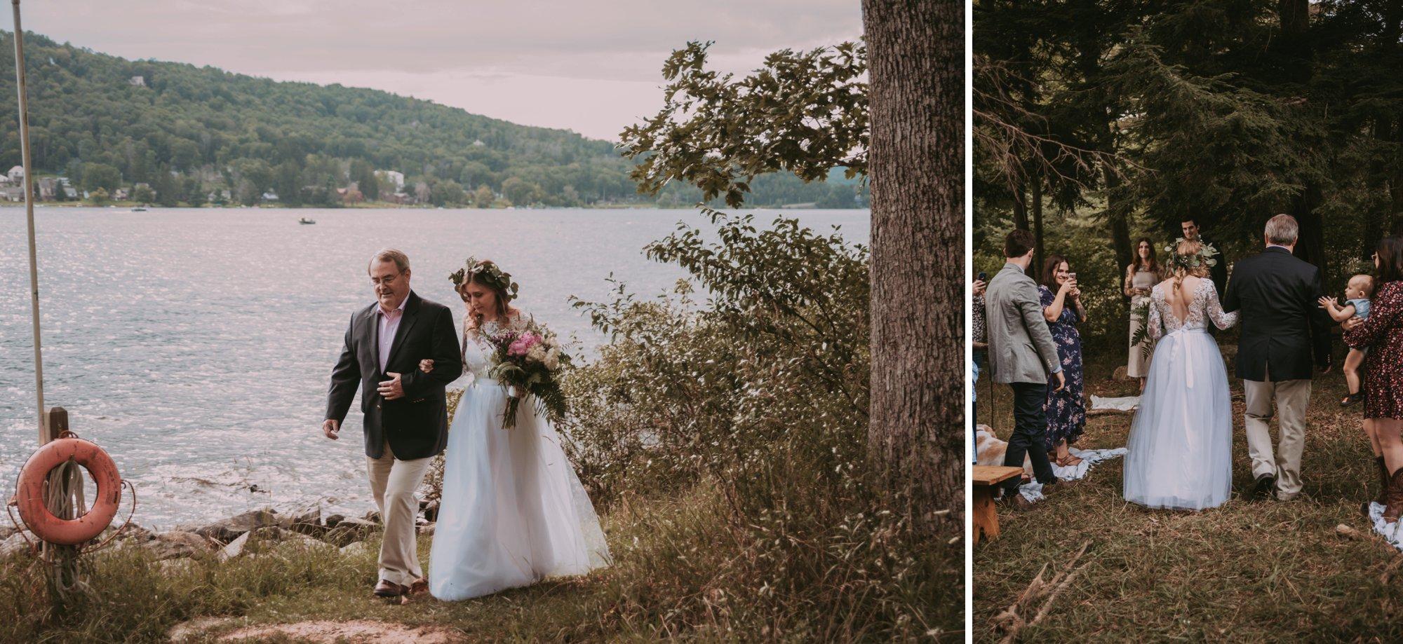 Rustic Intimate Vegan Forest Wedding with Handmade Dress. Bride Walking Down Aisle