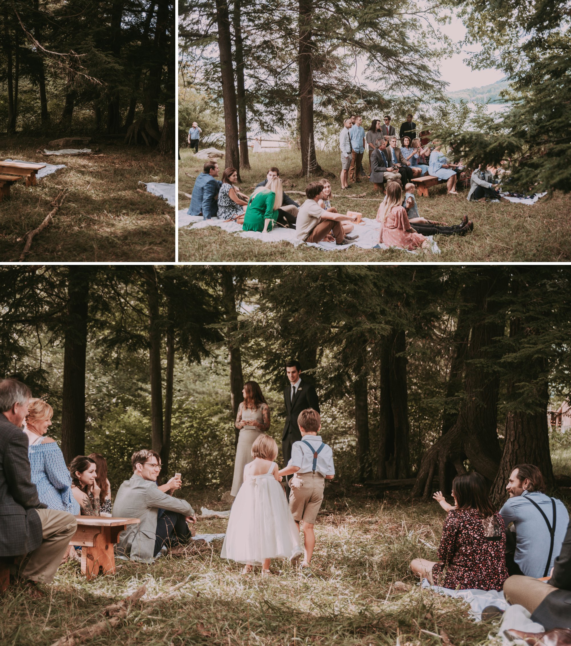 Rustic Intimate Vegan Forest Wedding with Handmade Dress. Cermony Site