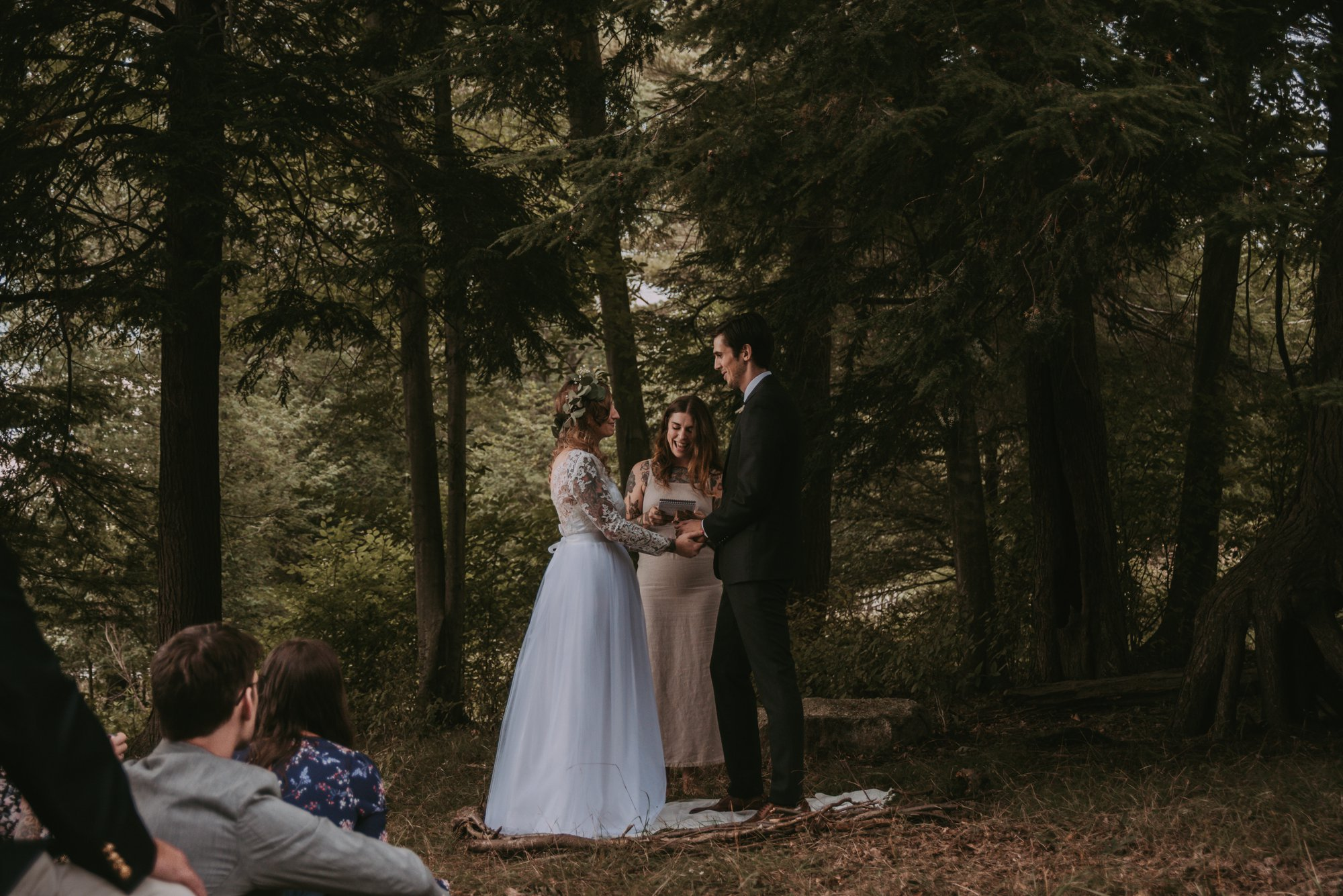 Rustic Intimate Vegan Forest Wedding with Handmade Dress. Vows