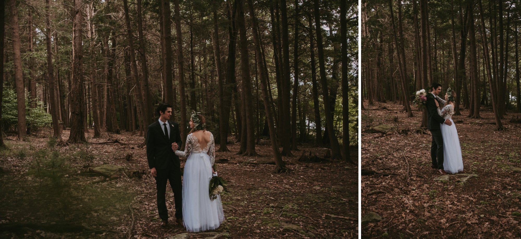 Rustic Intimate Vegan Forest Wedding with Handmade Dress. Forest Portrait