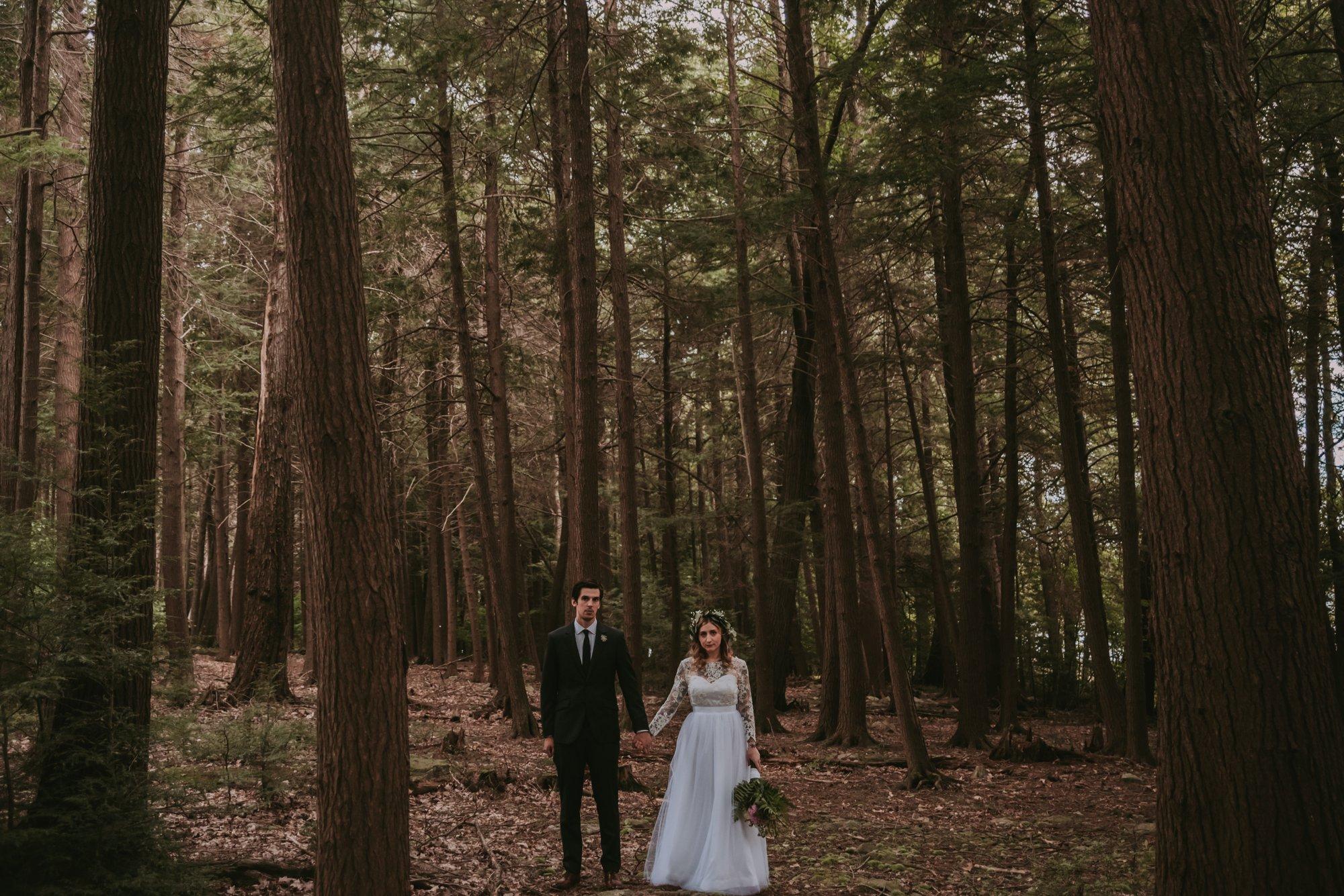 Rustic Intimate Vegan Forest Wedding with Handmade Dress. Portrait