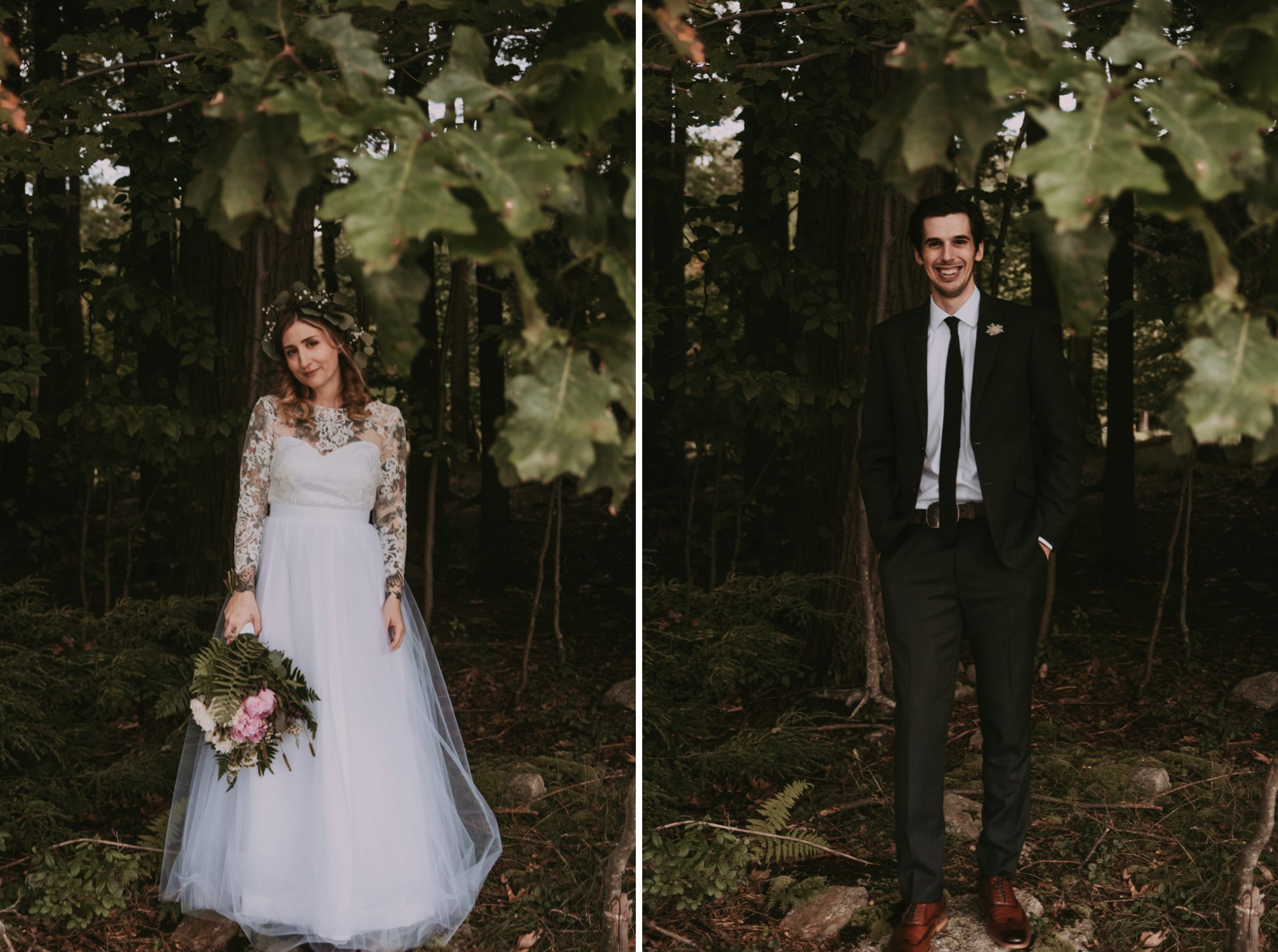 Rustic Intimate Vegan Forest Wedding with Handmade Dress. Couple