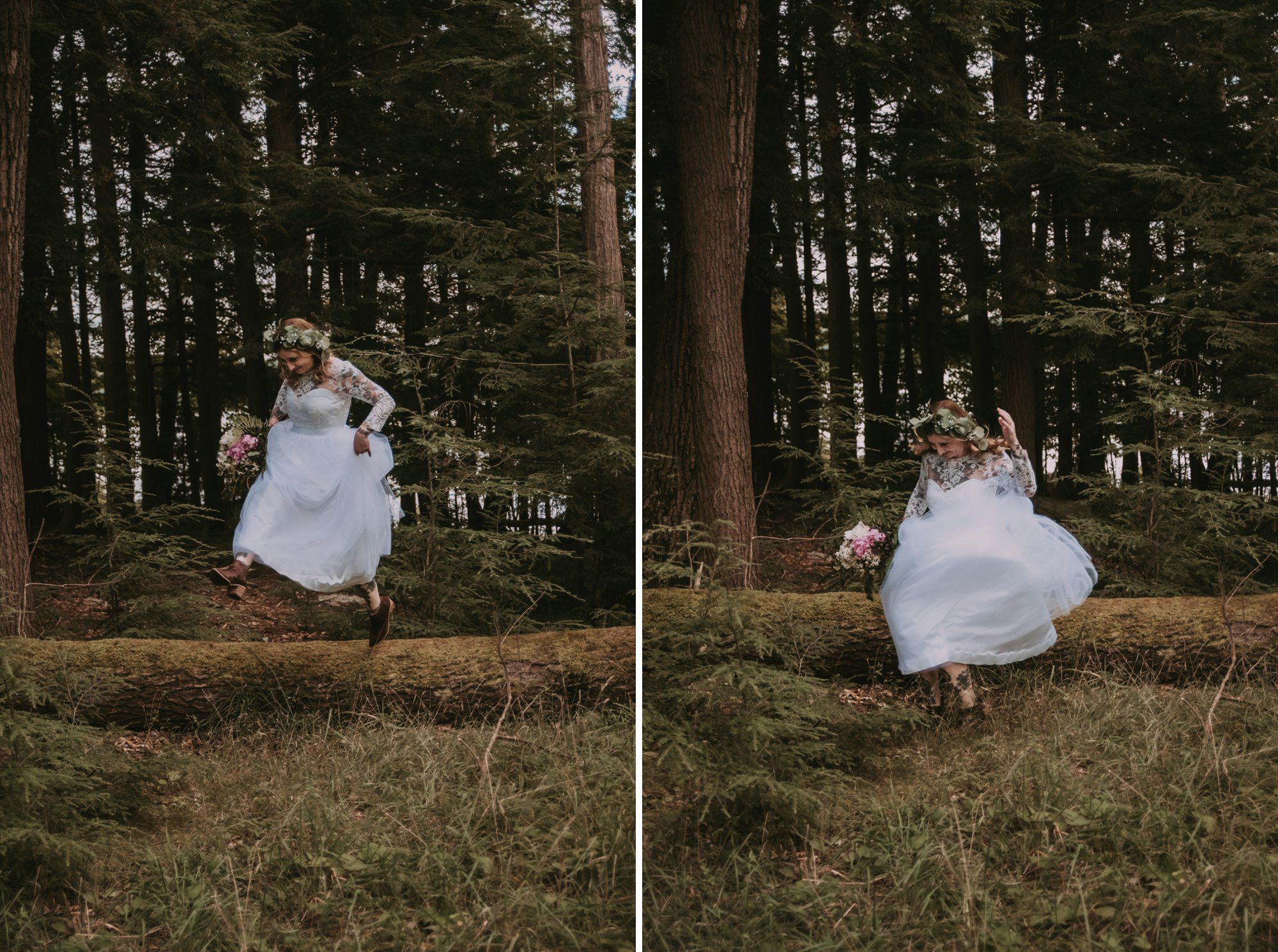 Rustic Intimate Vegan Forest Wedding with Handmade Dress. Bride Jumping off a Log