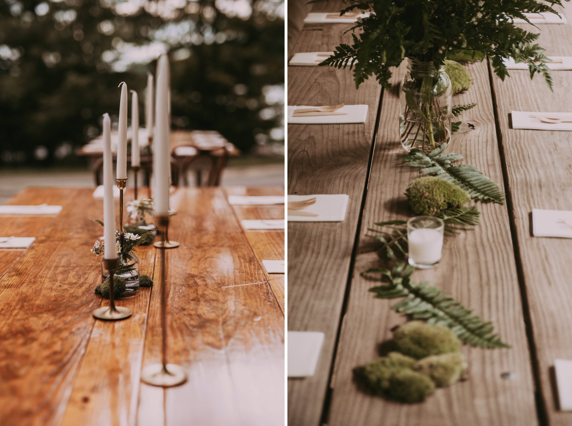 Rustic Intimate Vegan Forest Wedding with Handmade Dress. Table Decor.