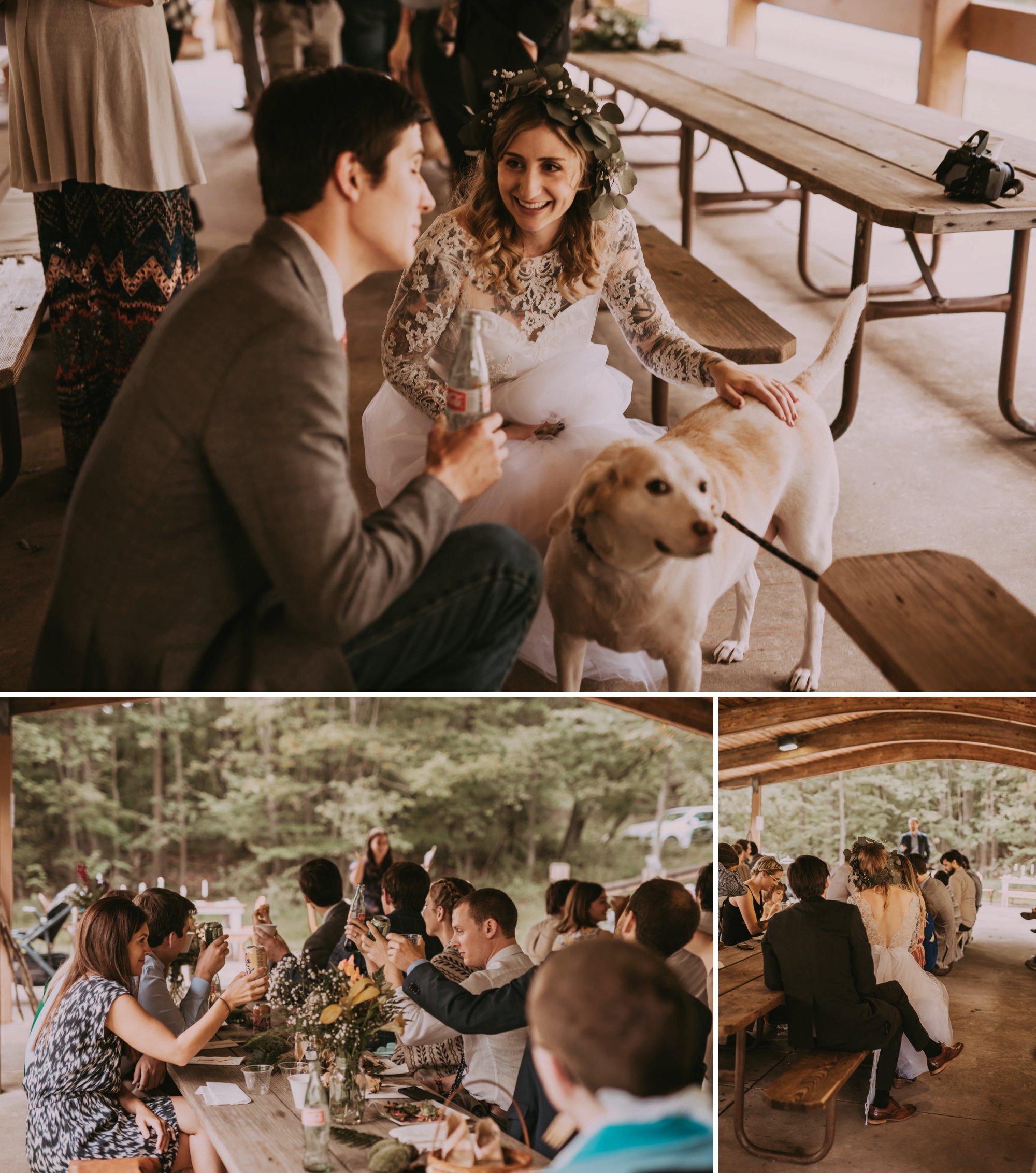 Rustic Intimate Vegan Forest Wedding with Handmade Dress. Reception
