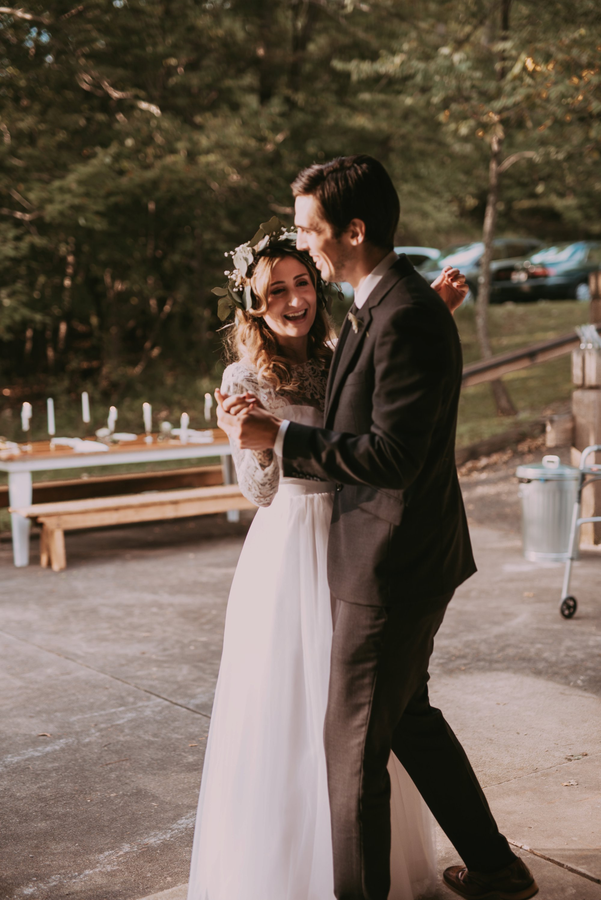 Rustic Intimate Vegan Forest Wedding with Handmade Dress. First Dance