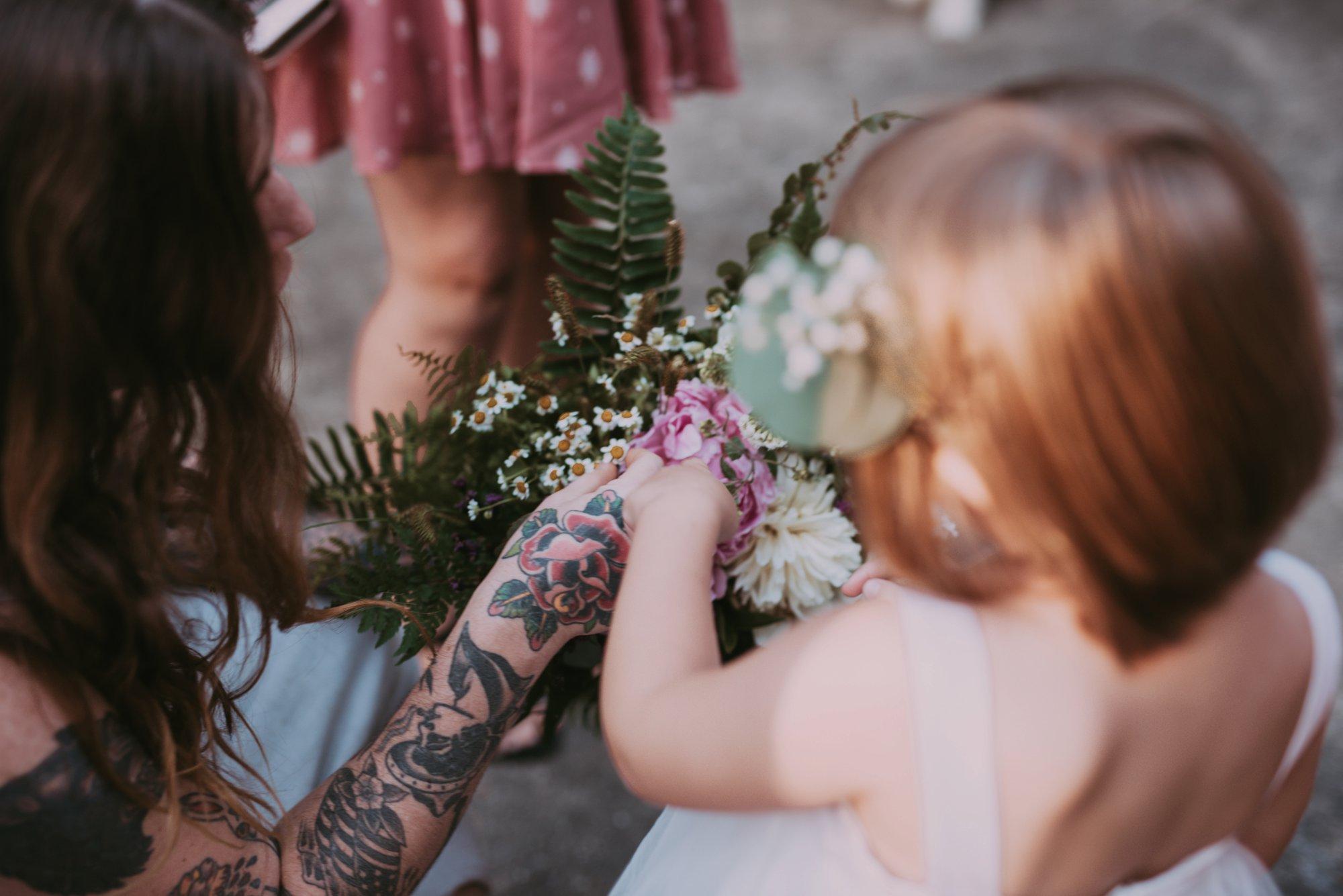 Rustic Intimate Vegan Forest Wedding with Handmade Dress. Flowergirl.