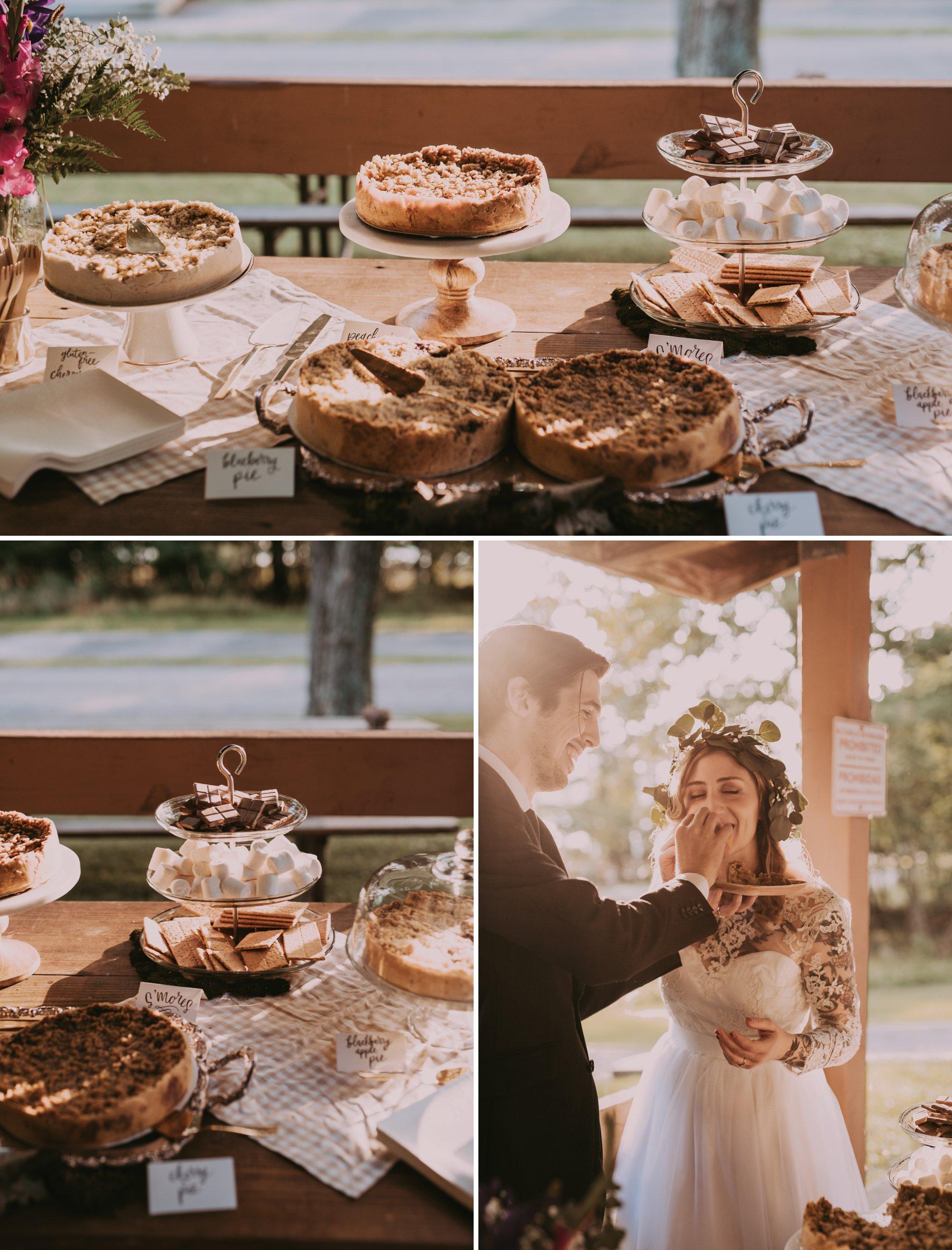 Rustic Intimate Vegan Forest Wedding with Handmade Dress. Vegan Desserts
