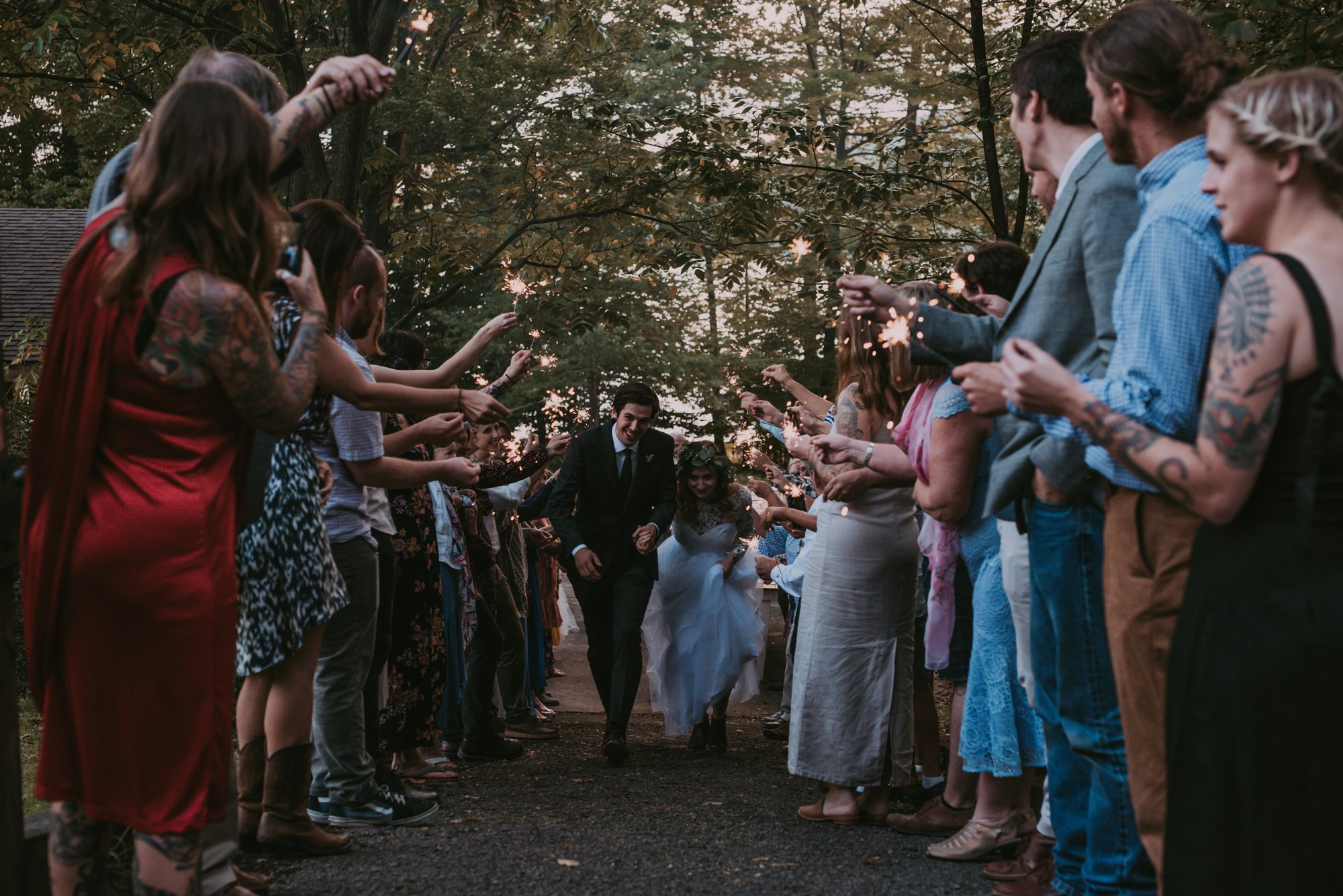 Rustic Intimate Vegan Forest Wedding with Handmade Dress. Sparkler Exit.