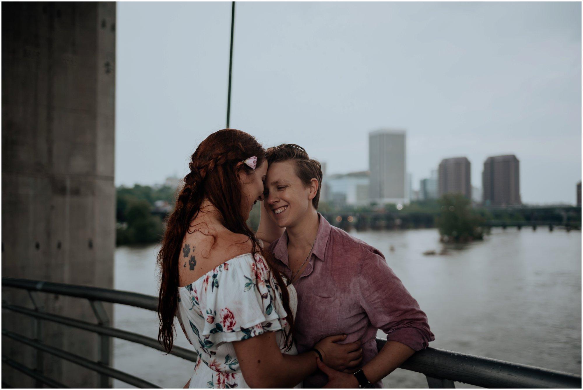Richmond VA Belle Isle Summer Rainstorm Rainy Gay Lesbian LGBTQ Engagement Photos