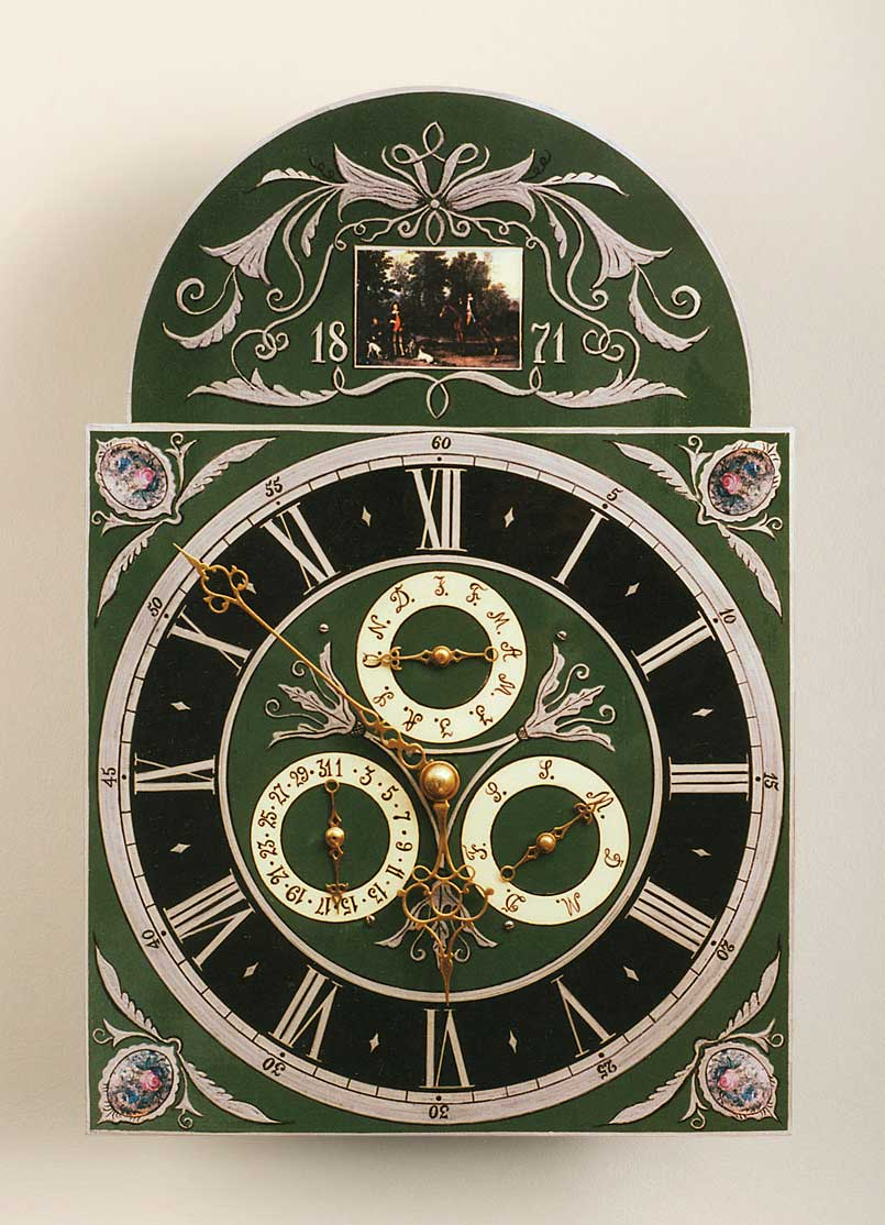 The dial after Arthur Kroeger's restoration in the mid-1990s. He was part of a long tradition of repainting, repairing, and refurbishing old clocks.