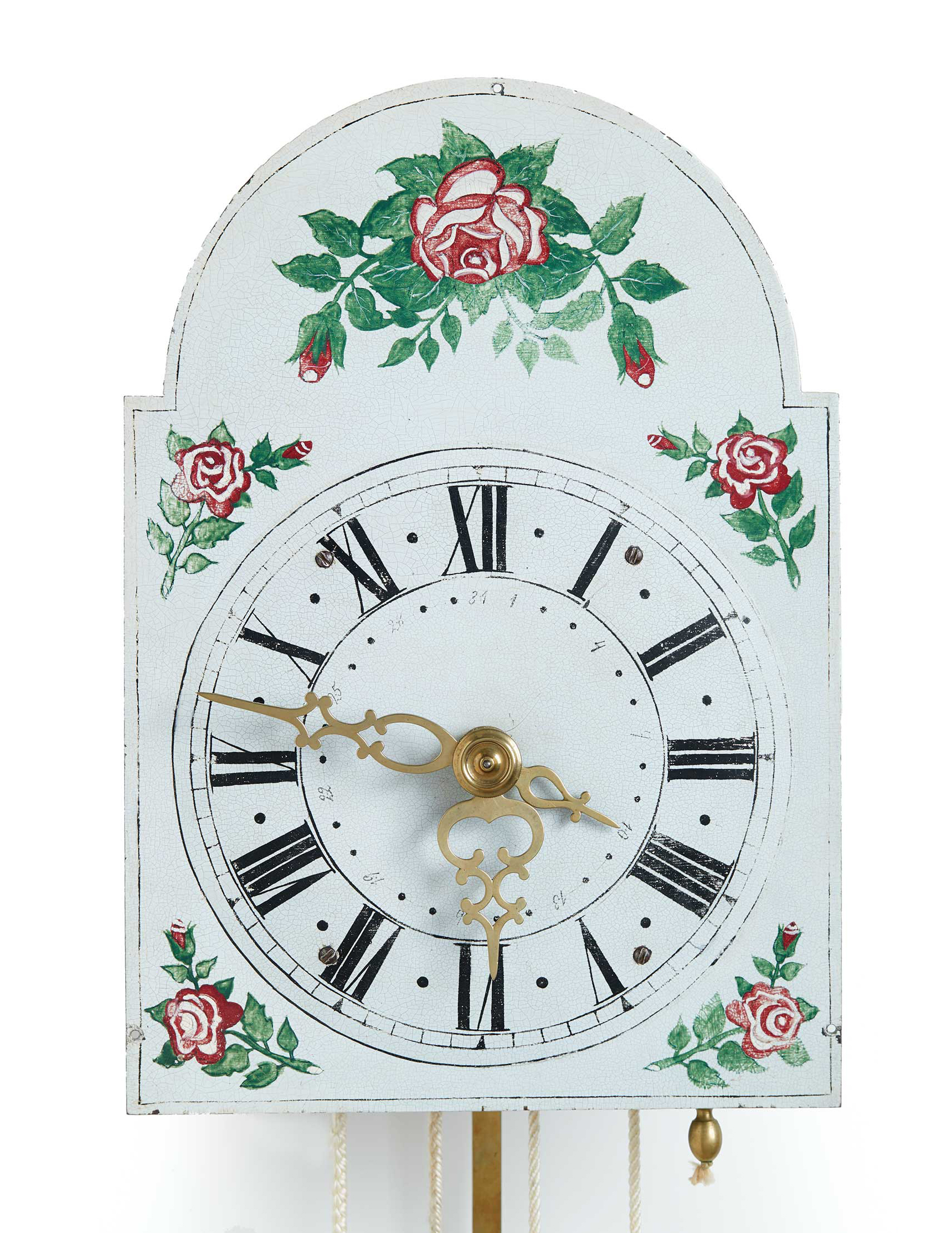 The flaking paint was a common issue for wall clocks in the climates of the Russian steppe and Canadian prairies.