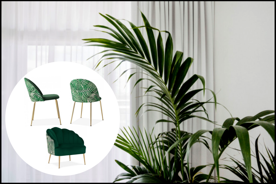 3. Lush Leaves - Adding some exotic elements to your furniture can create some seriously cool vibes! It will give the whole area an uplift and with the right showpiece it will add a touch of class to your room design.These bold but unassumingly discreet dining & accent chairs are covered with a forest green velvet and palm leaf fabric for a slick approach to modern chairs, complimented with a slim brass leg.Click the photo for more info!
