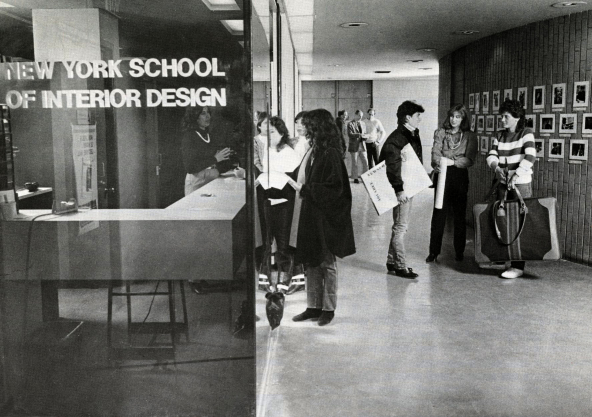 Students socializing in the lobby of 155 East 56 Street, 1984