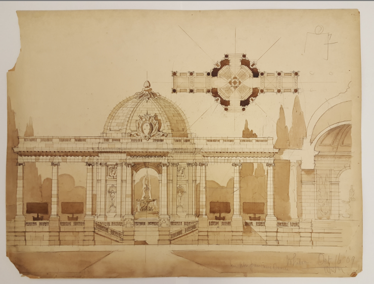 Sherril Whiton's Student Drawings from the Ecole des Beaux Arts:  In 1909, while studying architecture at Columbia University, NYSID founder Sherrill Whiton was admitted to the École des Beaux-Arts. NYSID is lucky enough to have a collection of 55 drawings from his time at the École. The one below is a design for an Amphitheatre, dated October 16, 1909. Most of the drawings are made in pencil on trace with brown ink wash., and many of them are accompanied by brief descriptions of the assignment, and are dated and graded by the École instructors.