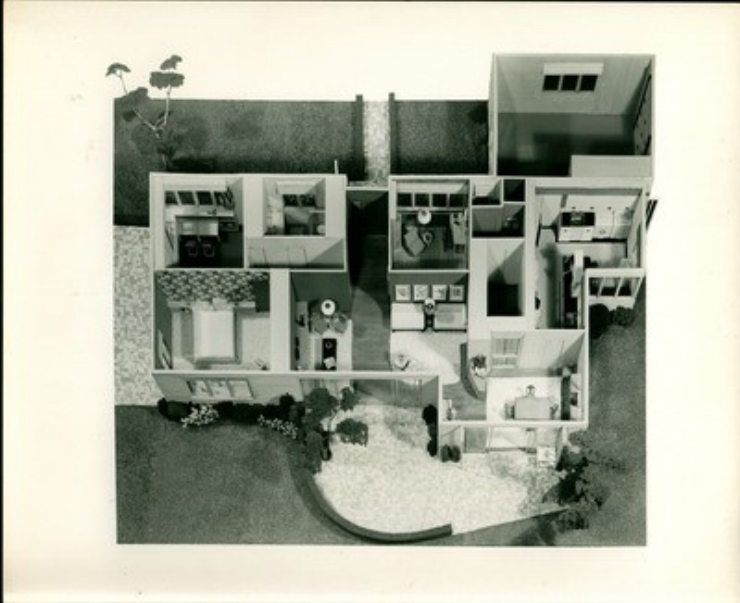 Photographs of Students' Scale Model from the 1960s:  This small collection of photographs are final projects from scale model classes taught by long-time faculty member  Alexander Breckenridge . These models are remarkably well-executed and include all of the details and decorative accents that make up a well-designed home, including indoor plants, outdoor landscaping, floor and wallcoverings, household equipment, and interior lighting.