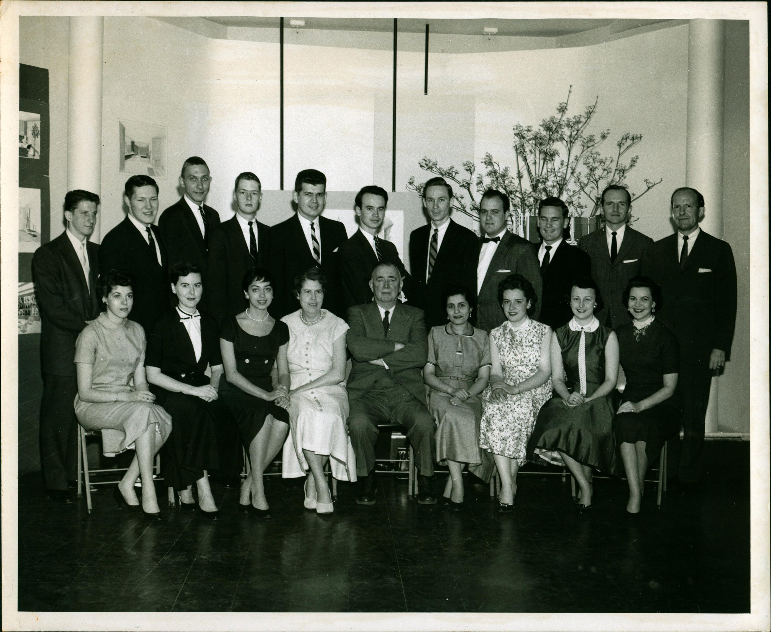 """NYSID Class of 1956: 1956 NYSID alumnus  Joseph Grusczak,  whose professional interior design collection is now housed in the  NYSID Archives , recalls how the school's year-end commencement exhibitions often garnered the attention of industry professsionals. """"Considerable interest at NYSID's exhibitions set in motion invitations to join design firms. It became clear how important exposure at such student exhibitions were. As a result, work flowed my way and never stopped in my half-century of designing. My hat is off to the New York School of Interior Design.""""   (Top row, far left: Joe Grusczak)"""
