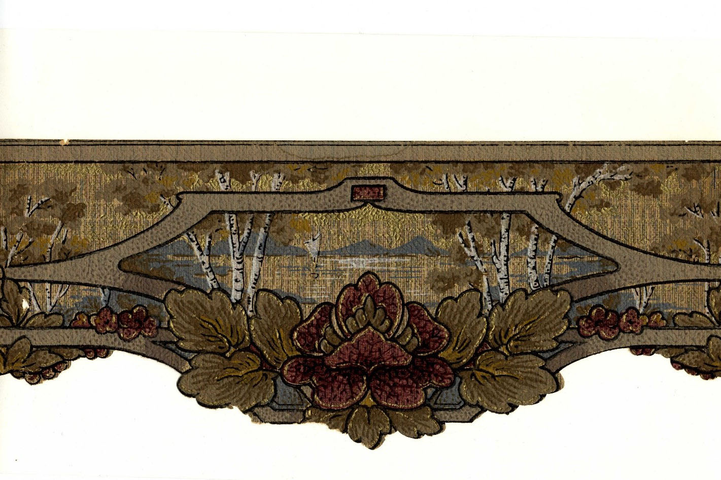 Vintage Wallpaper Samples: In 1997, NYSID's Librarian Jean Hines acquired more than 70 vintage wallpaper samples from the Metropolitan Book Auction to serve as a study collection for students. The samples, now safely housed in the Archives and available for research, range in style from the Neoclassical, to Arts and Crafts and to Art Deco. Pictured is a frieze of an outdoor scene (complete with Birch or Aspen) and framed with flowers. Beautiful!