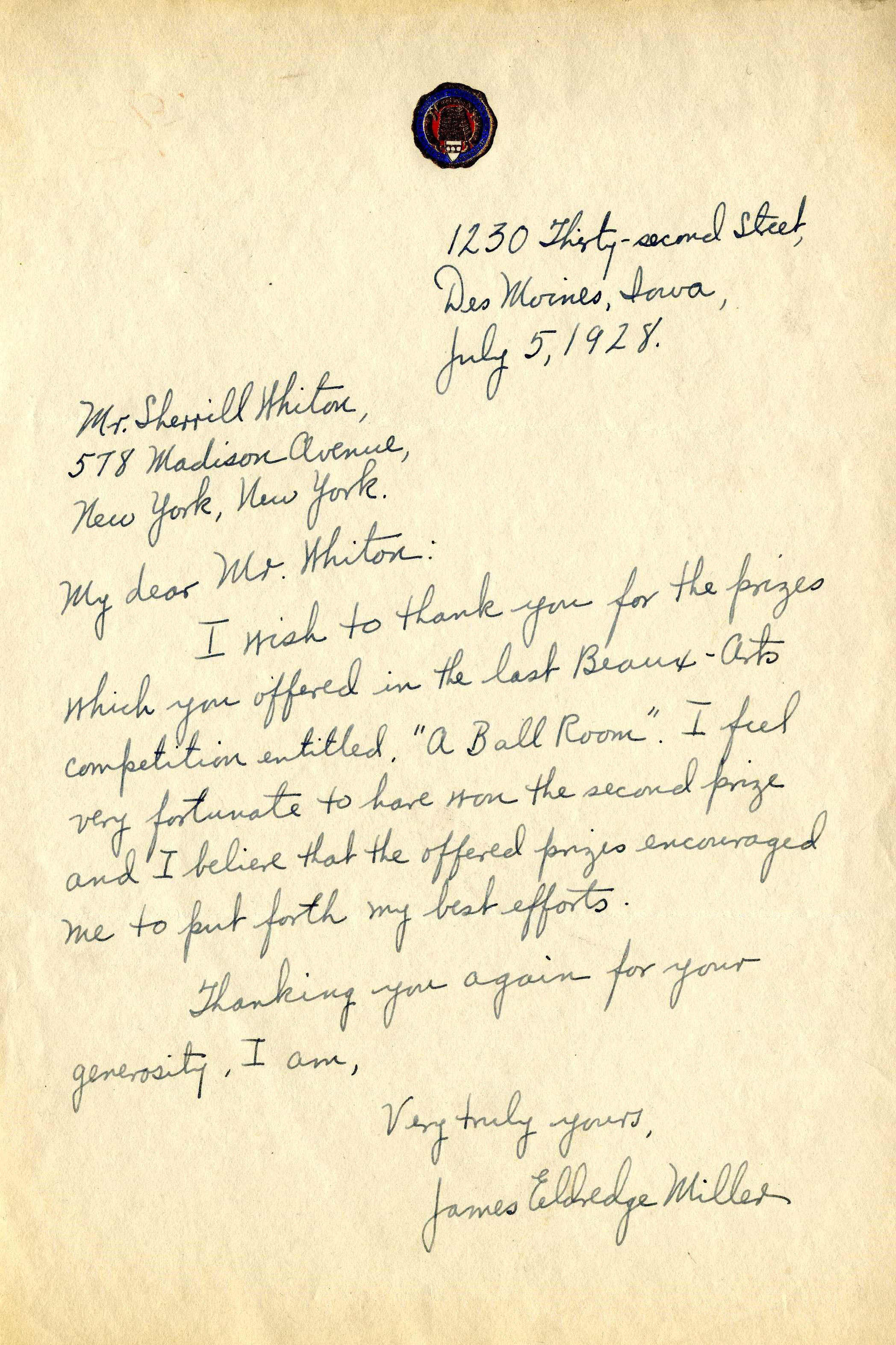 Sherrill Whiton Correspondence: In addition to being a leading educator in the field of interior design, NYSID founder Sherrill Whiton was also a benefactor. This 1928 letter was written to Whiton to thank him for sponsoring the recent Beaux-Arts Institute's annual design competition. The Institute, of which Whiton was a long-time member, was formed in 1914 by former students of the Ecole des Beaux Arts in Paris who wanted to bring the Ecole's standard of architectural education to the United States. The Institute taught classes in architecture as well as mural painting and sculpture, and held an annual design competition.