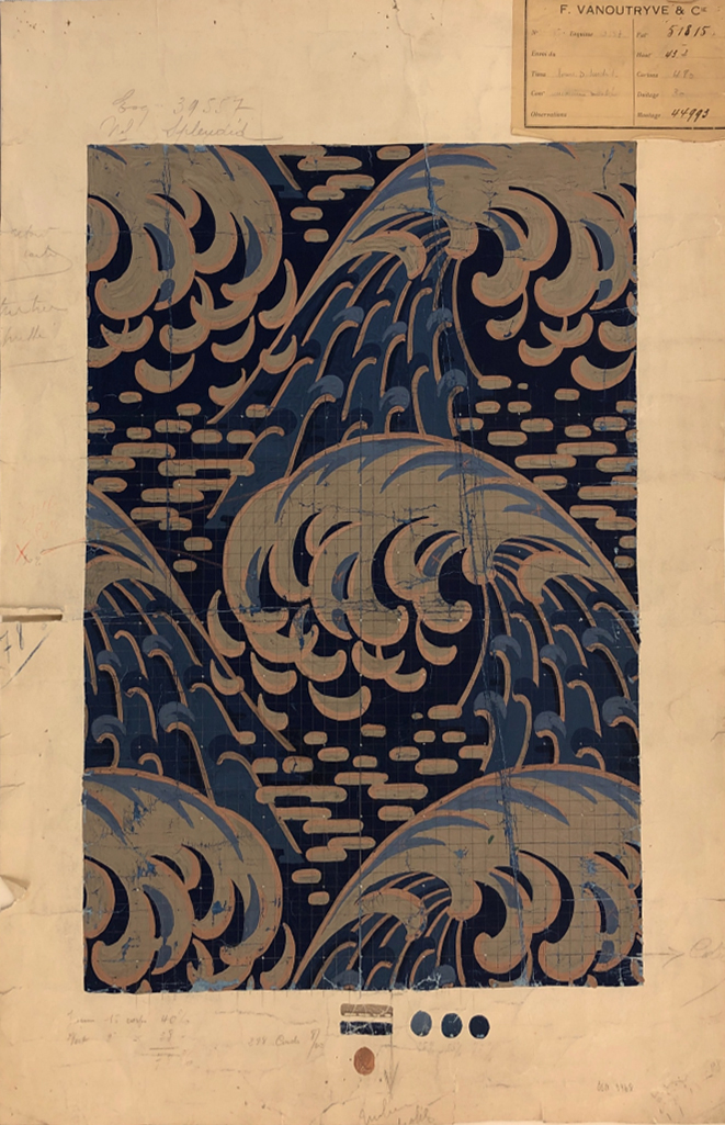 Felix Vanoutryve & Cie (France) Late 19th c. or Early 20th c.  Textile design  Gouache on paper (source for current Kravet design, Kaiyou)