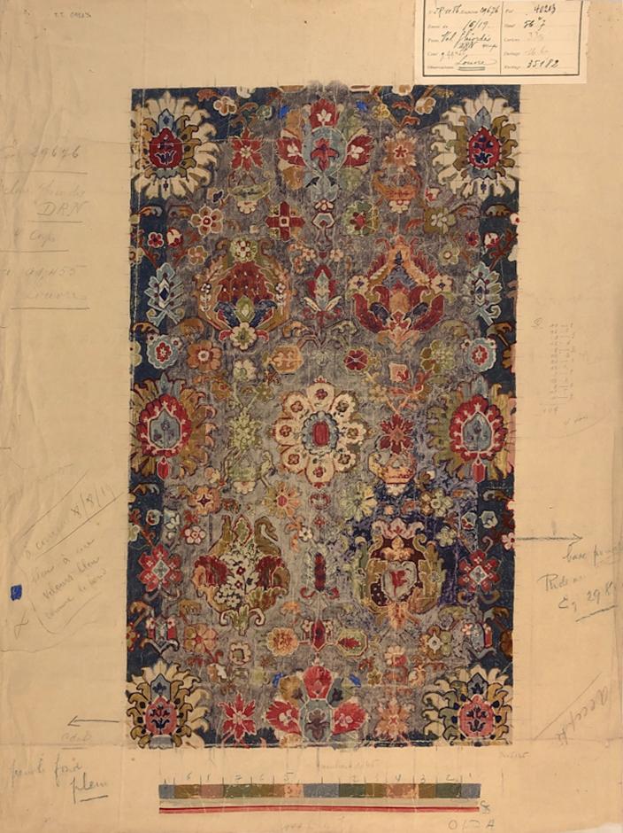Felix Vanoutryve & Cie (France)  Textile design, c. 1880-90  Gouache on paper