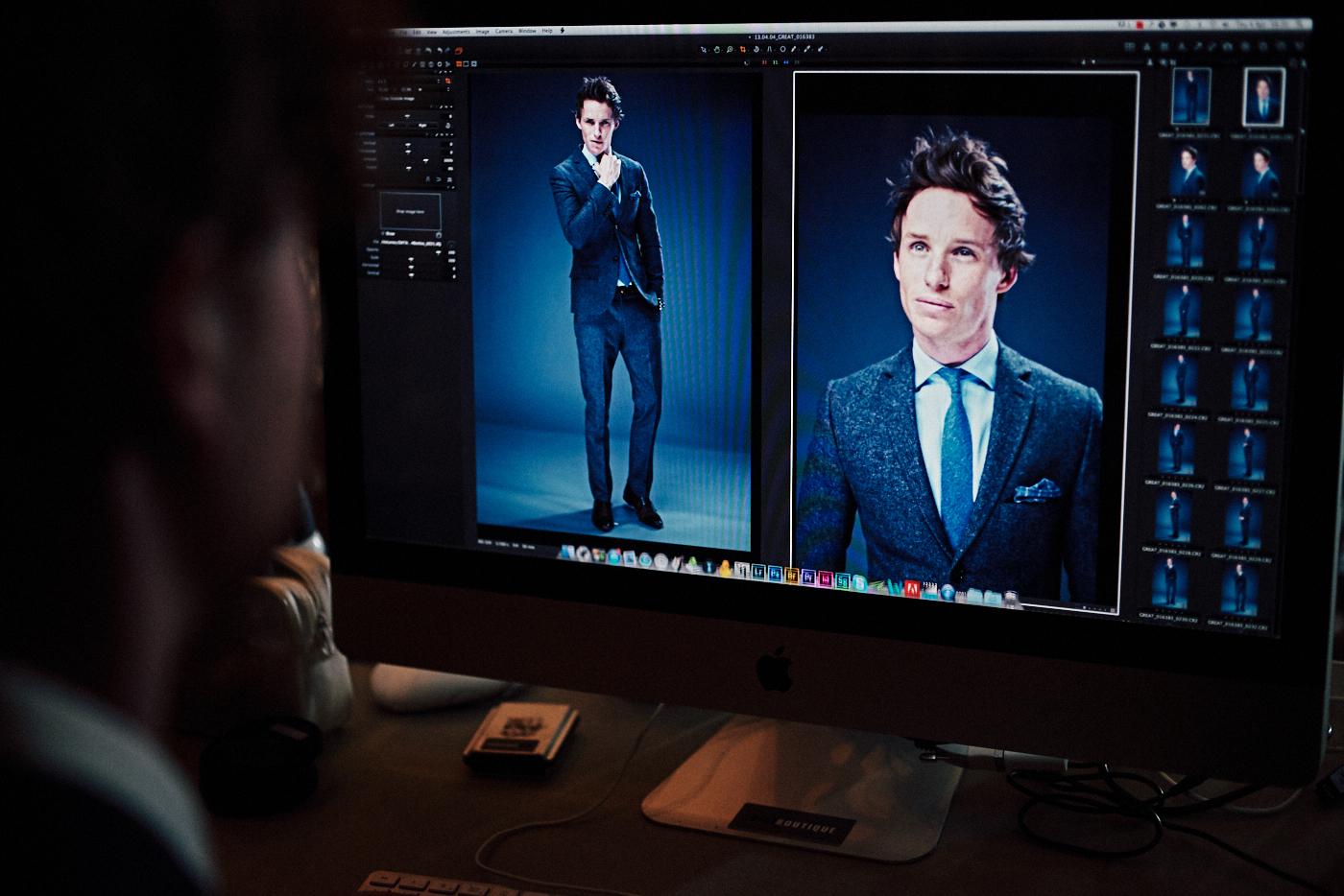 portrait photographer Tim Cole shoots Eddie Redmayne on digital screen