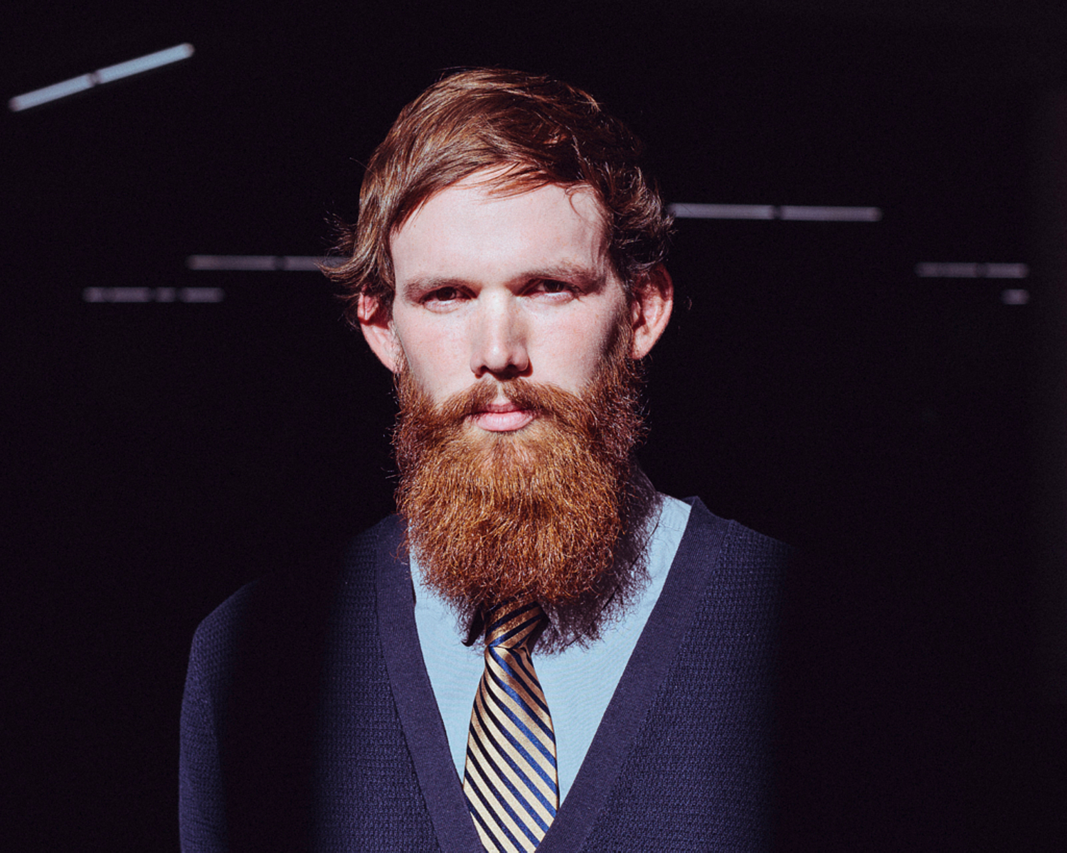 portrait photographer Tim Cole captures man with red beard and yellow tie