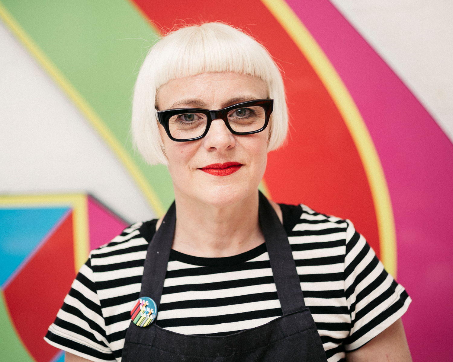 portrait photographer Tim Cole shoots Morag Myerscough in her studio