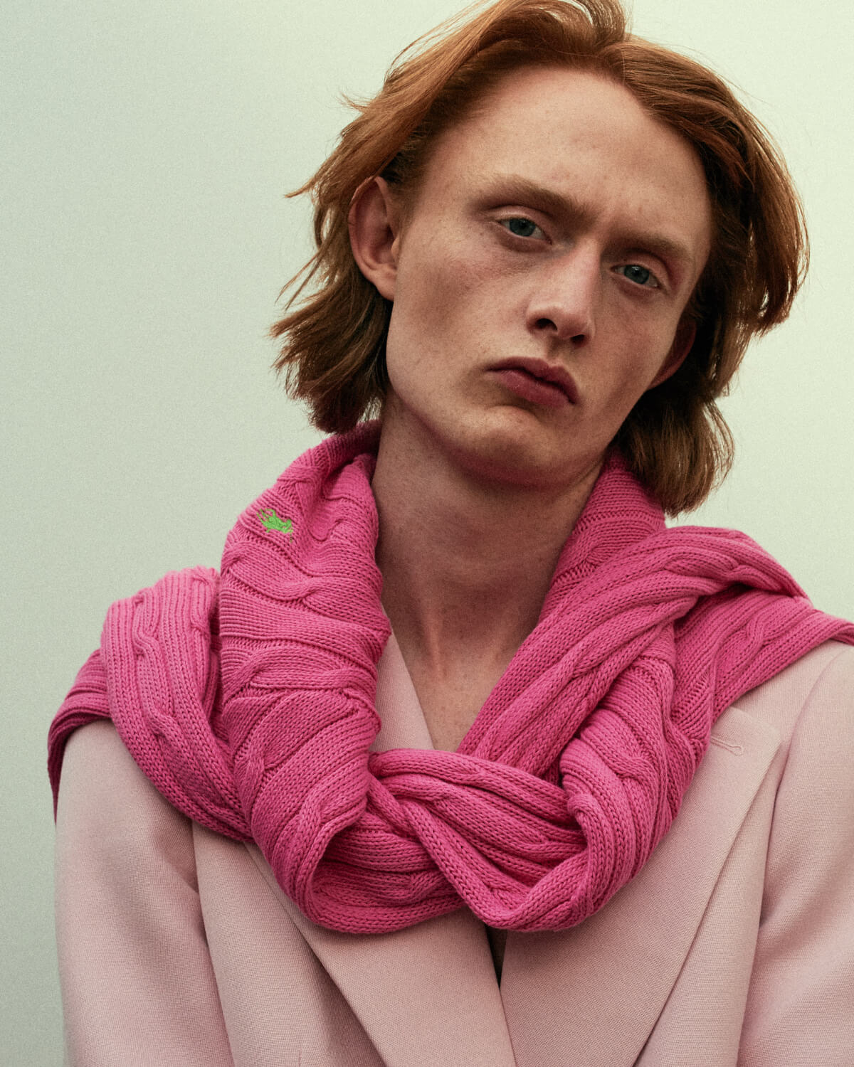 portrait photographer Tim Cole shoots man in pink jumper