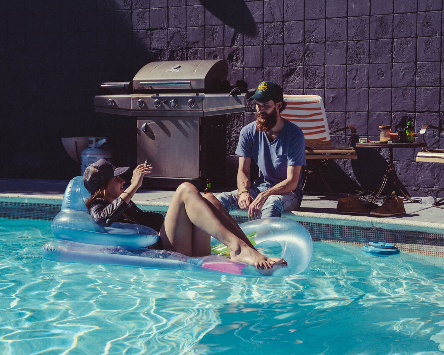 lifestyle photographer Tim Cole shoots in the pool lifestyle photography