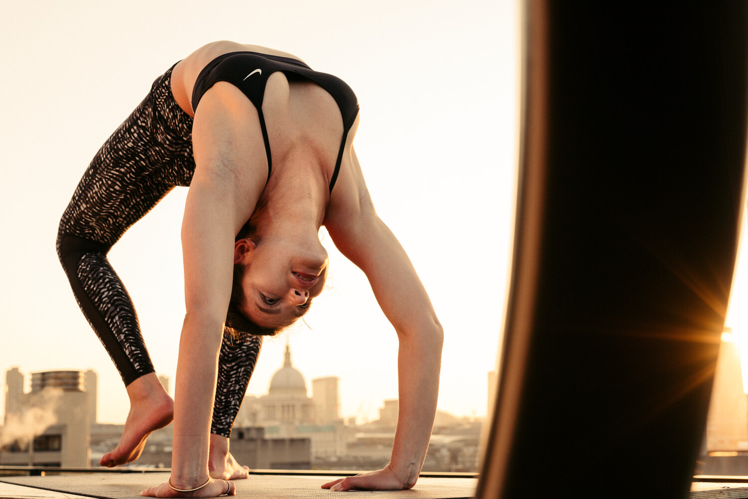lifestyle photographer Tim Cole shoots  yoga on the roof at South Bank Tower