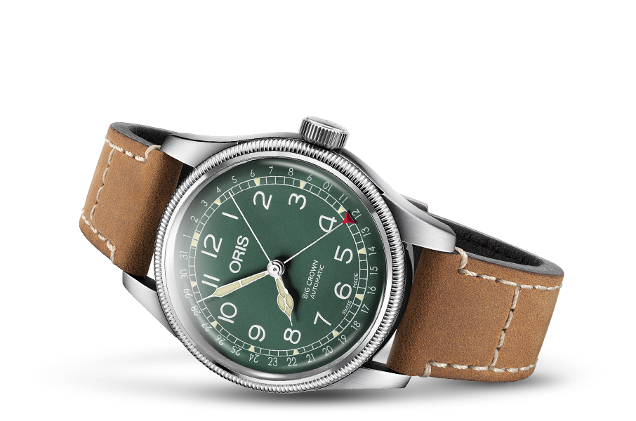 The green dial is a playful execution of a classy pilot's watch