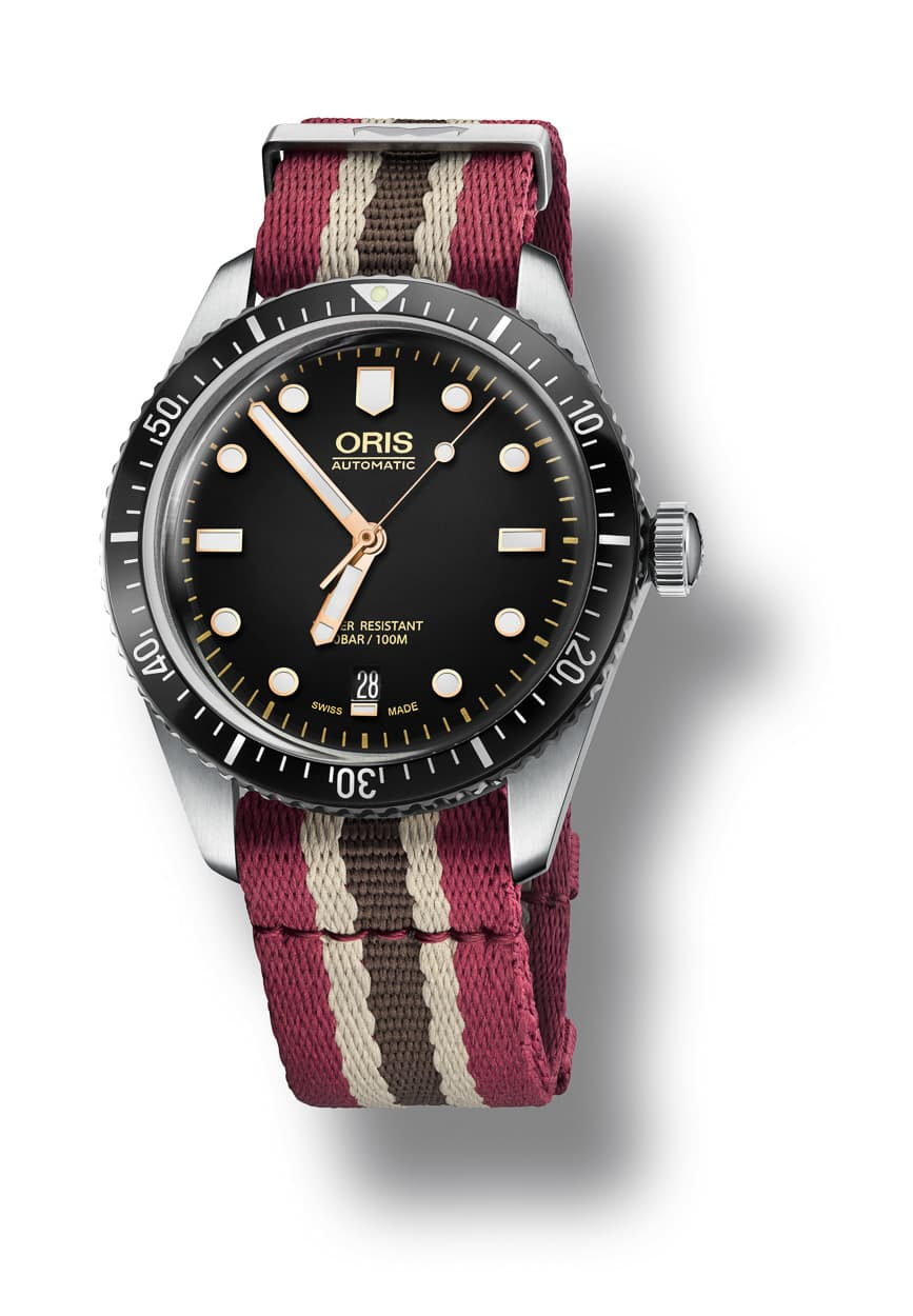 The colorful NATO strap comes included with the watch