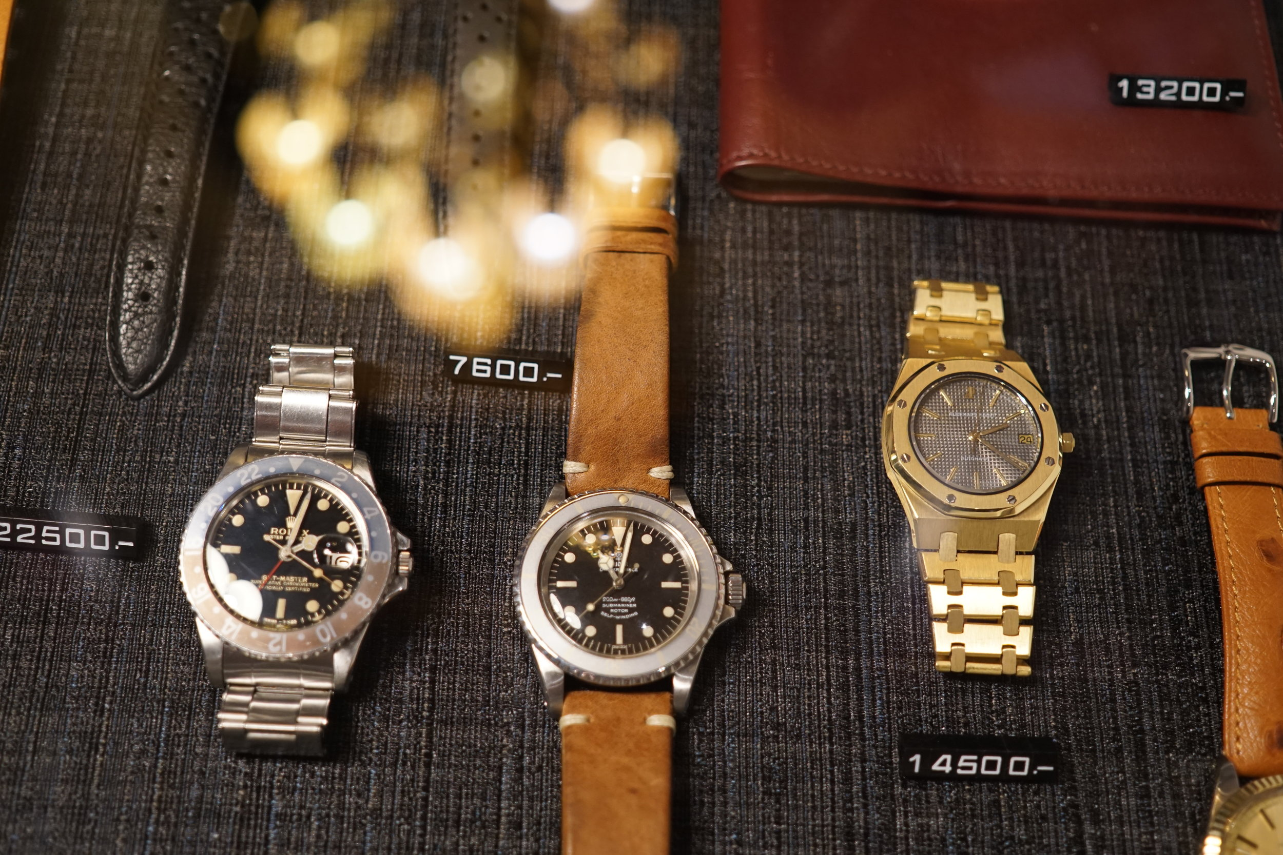 This trio would make any watch enthusiast very, very happy. From left to right: Rolex GMT Master ref. 1675, Tudor Submariner ref. 7928, and Audemars Piguet Royal Oak ref. 4100BA.