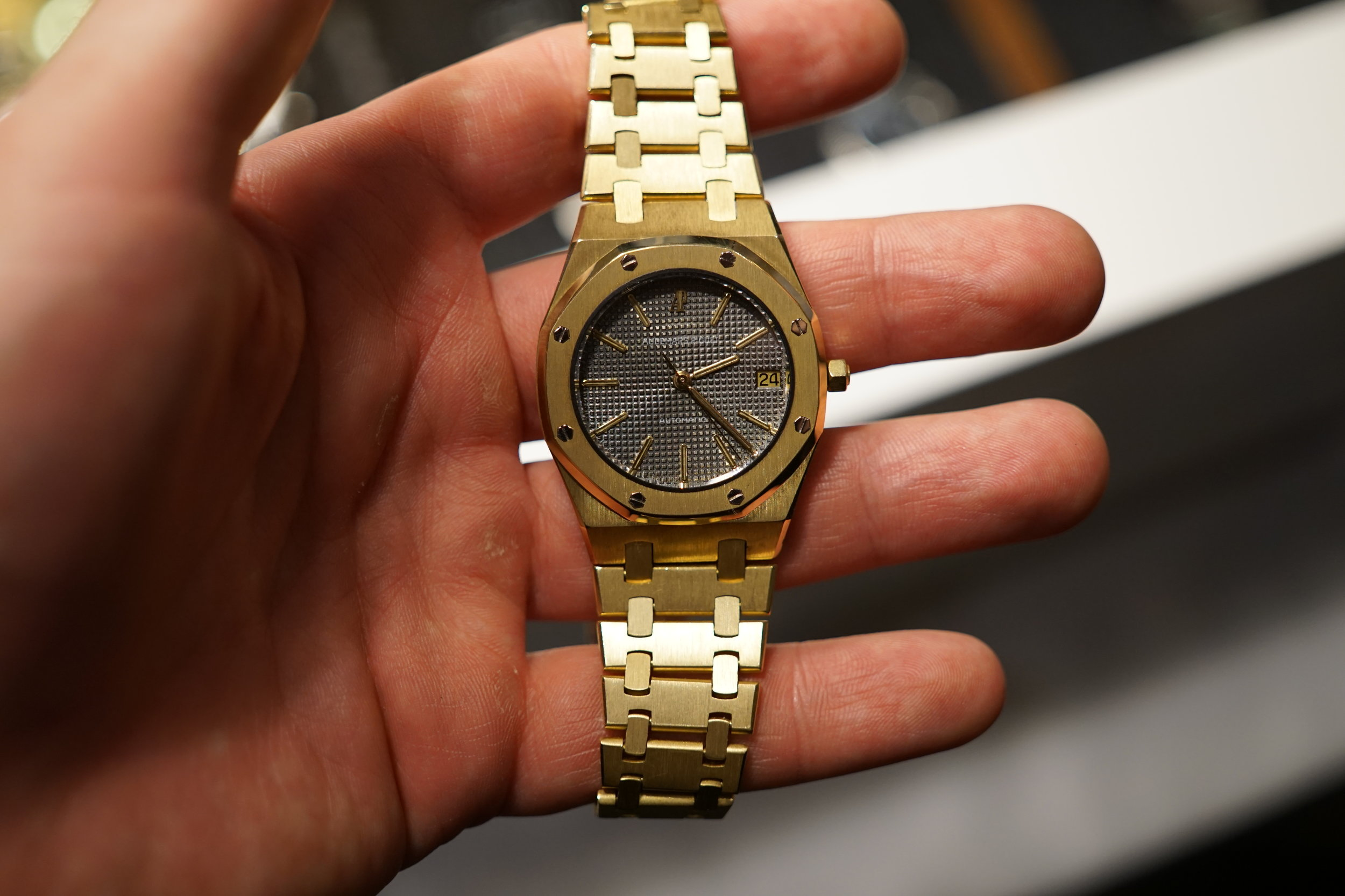 The very definition of a baller watch - a solid gold Royal Oak from year 1987.