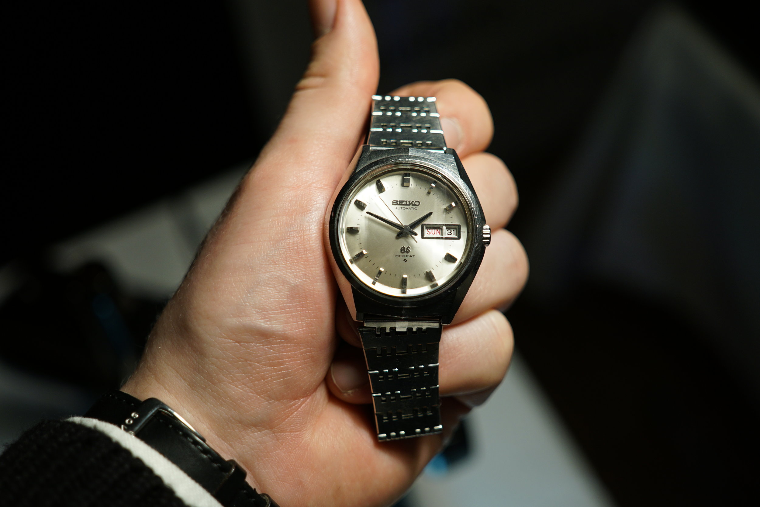 This vintage Grand Seiko ref. 6146-8050 had a really cool chiseled crystal. You can't really see it here, but it was shaped like a polished diamond.