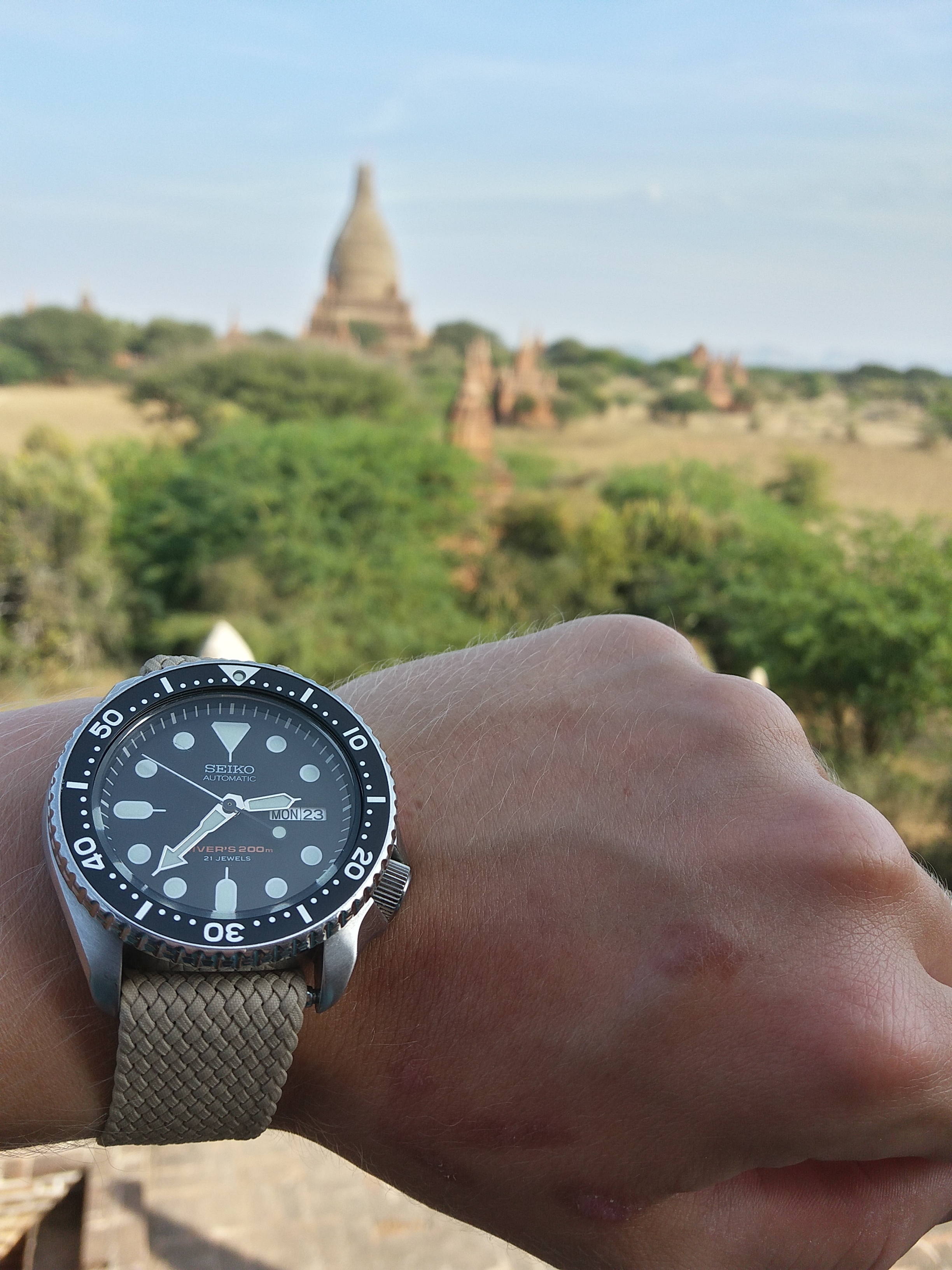 The SKX was tightly strapped to my wrist in Bagan, Myanmar.
